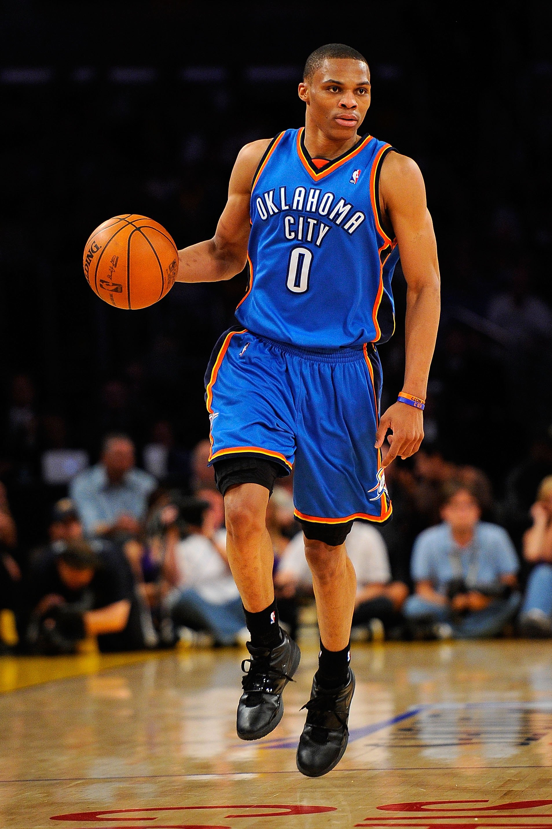 LOS ANGELES, CA - APRIL 27:  Russell Westbrook #0 of the Oklahoma City Thunder moves the ball while taking on the Los Angeles Lakers during Game Five of the Western Conference Quarterfinals of the 2010 NBA Playoffs at Staples Center on April 27, 2010 in L