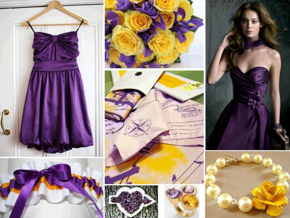 Photo courtesy: http://wedding-pictures.onewed.com/edgy/files/imagecache/576w/images/1042920/chic-la-lakers-inspired-wedding-purple-bubble-dress-for-bridemaids-purple-gold-bridal-garter-accessories.jpg