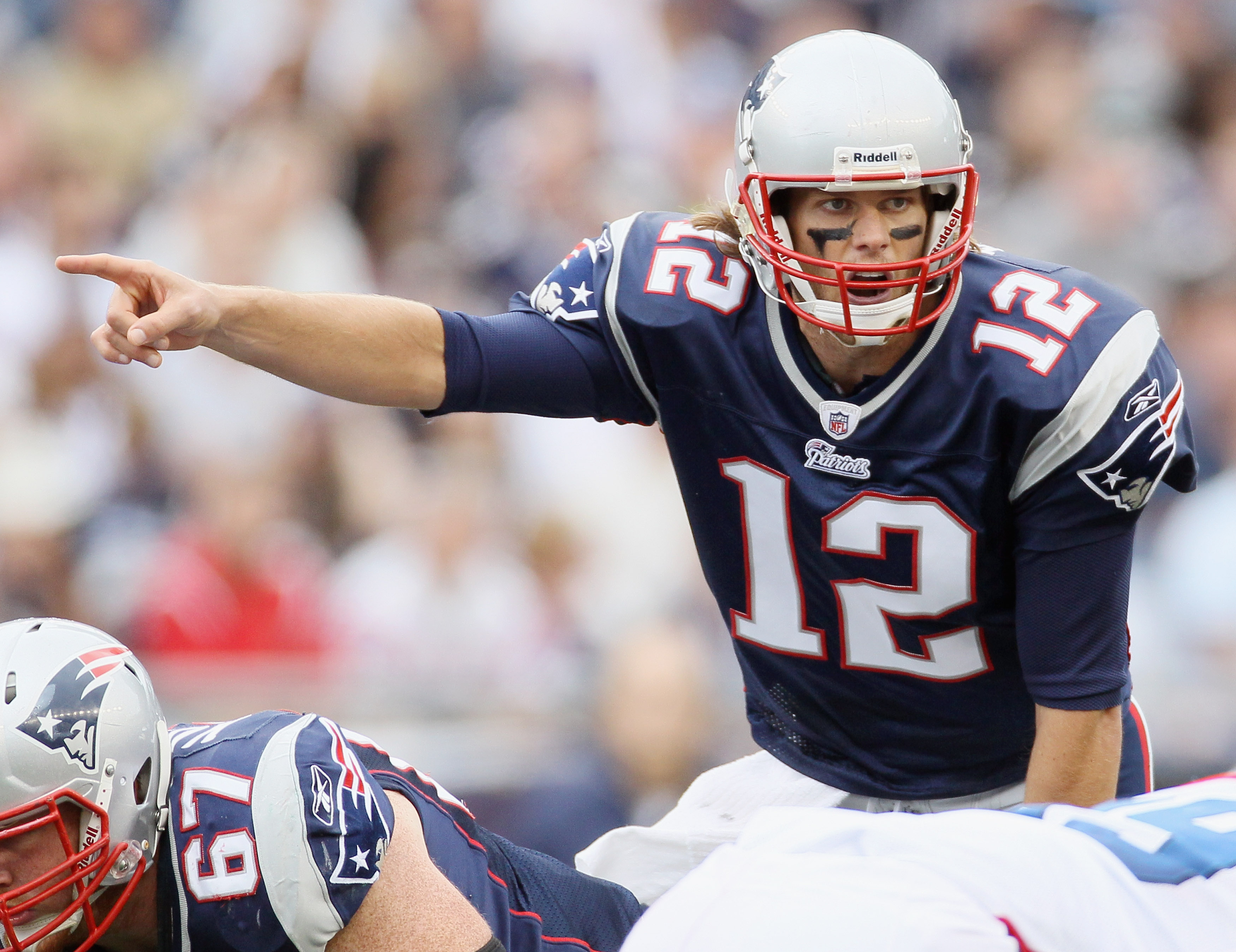 FOXBORO, MA - SEPTEMBER 26:  Tom Brady #12 of the New England Patriots calls out the play in the third quarter against the Buffalo Bills during on September 26, 2010 at Gillette Stadium in Foxboro, Massachusetts. The Patriots defeated the Bills 38-30.  (P