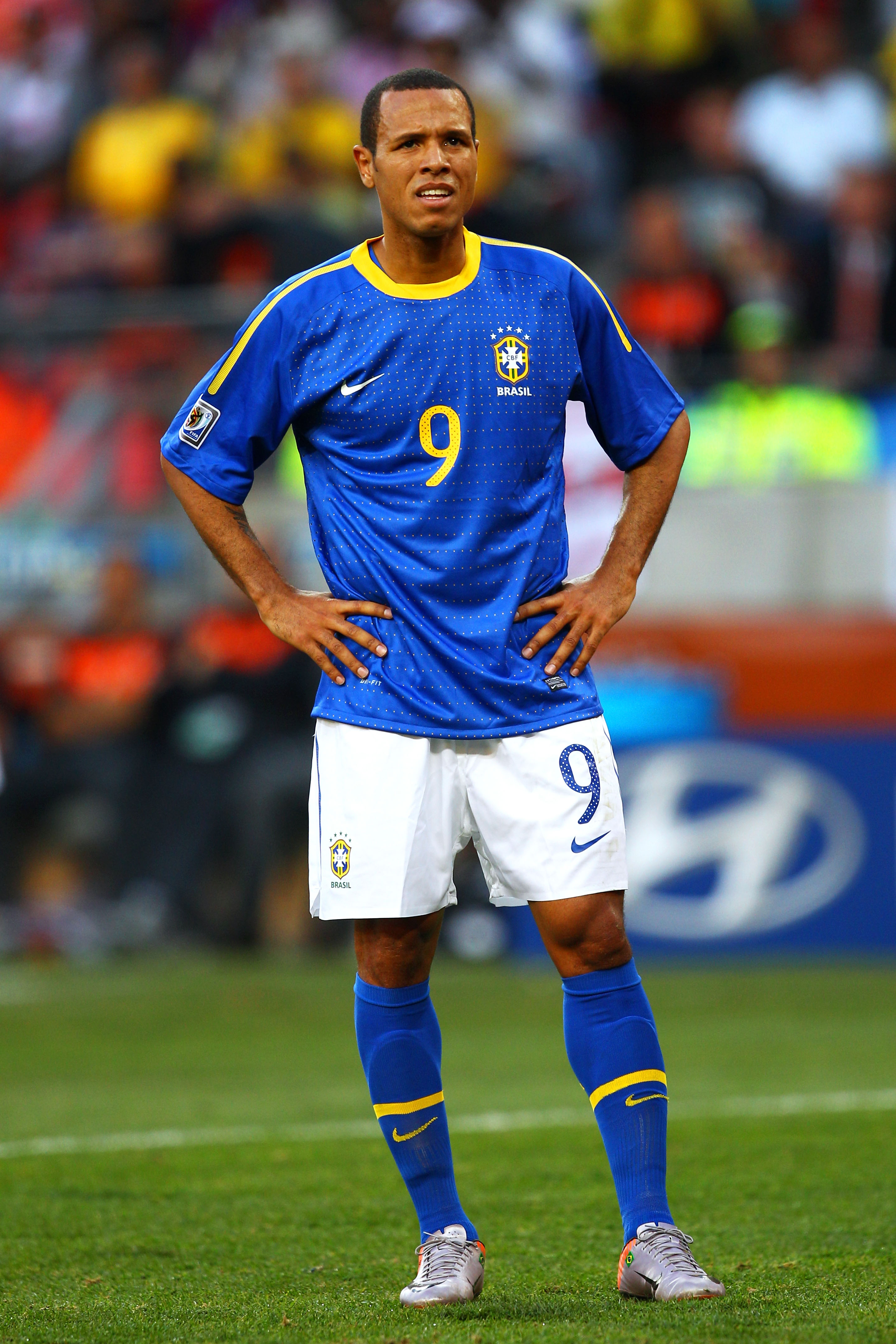 PORT ELIZABETH, SOUTH AFRICA - JULY 02:  Luis Fabiano of Brazil looks on during the 2010 FIFA World Cup South Africa Quarter Final match between Netherlands and Brazil at Nelson Mandela Bay Stadium on July 2, 2010 in Nelson Mandela Bay/Port Elizabeth, Sou