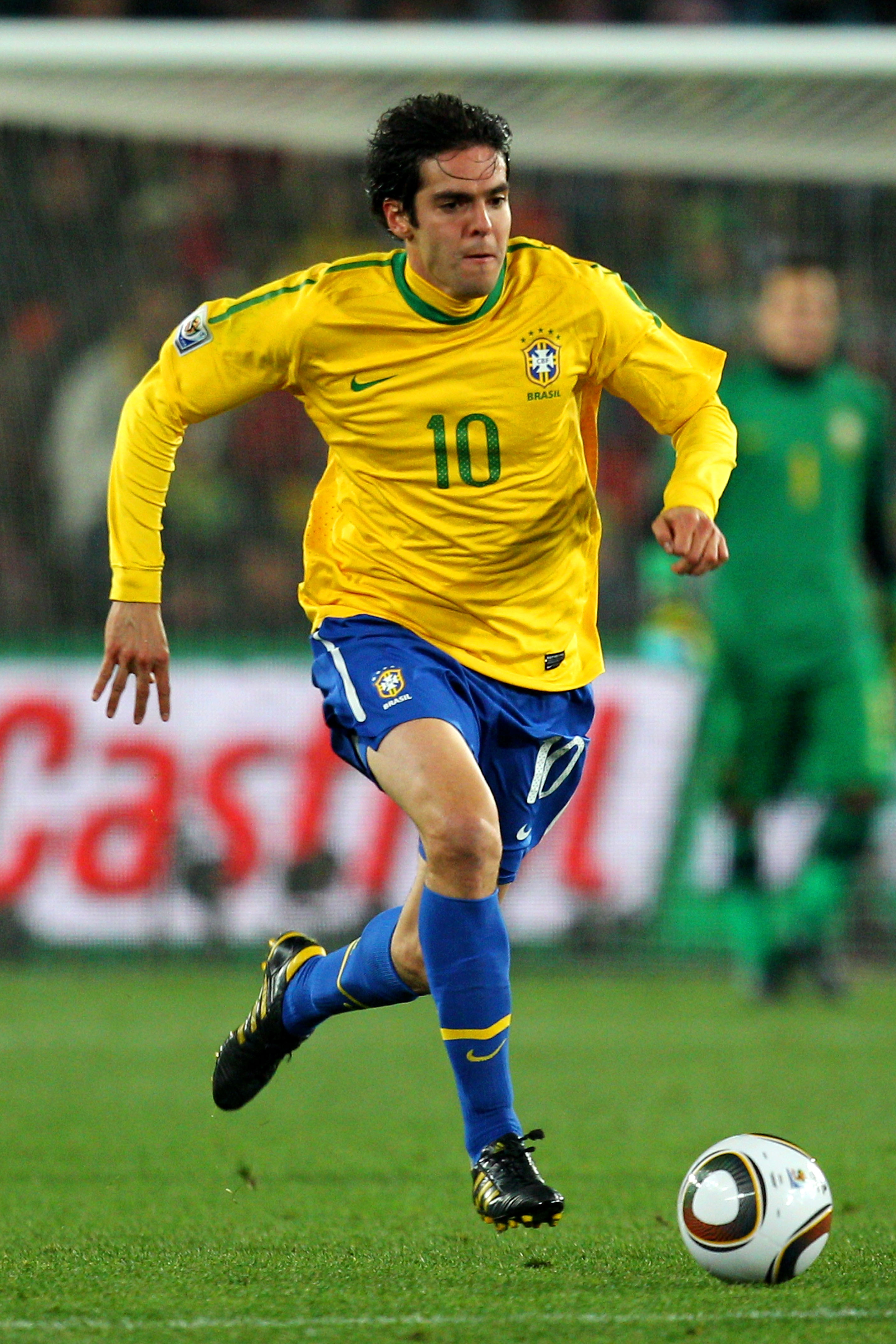 JOHANNESBURG, SOUTH AFRICA - JUNE 28:  Kaka of Brazil runs with the ball during the 2010 FIFA World Cup South Africa Round of Sixteen match between Brazil and Chile at Ellis Park Stadium on June 28, 2010 in Johannesburg, South Africa.  (Photo by Cameron S