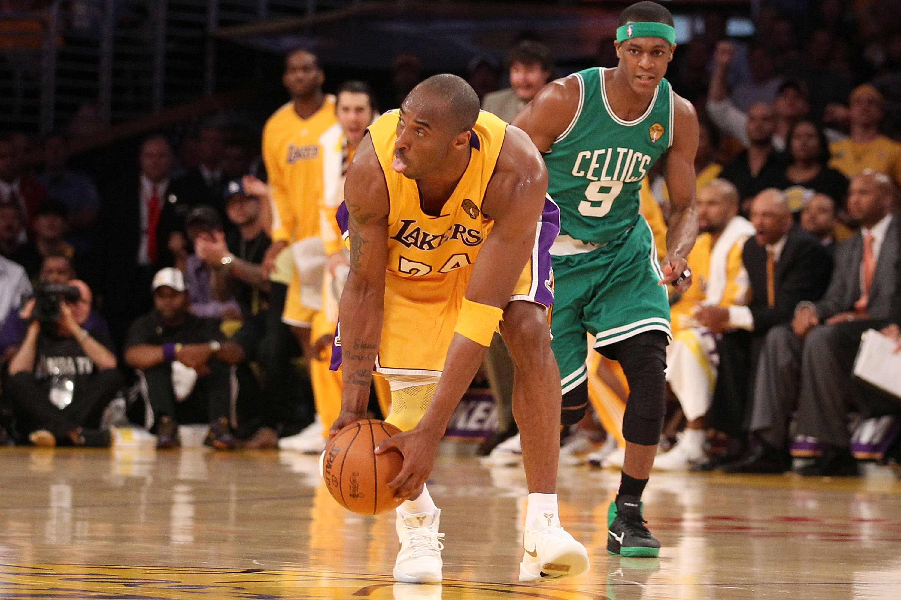 LOS ANGELES, CA - JUNE 15:  Kobe Bryant #24 of the Los Angeles Lakers grabs the ball and heads up court against the Boston Celtics in Game Six of the 2010 NBA Finals at Staples Center on June 15, 2010 in Los Angeles, California.  NOTE TO USER: User expres