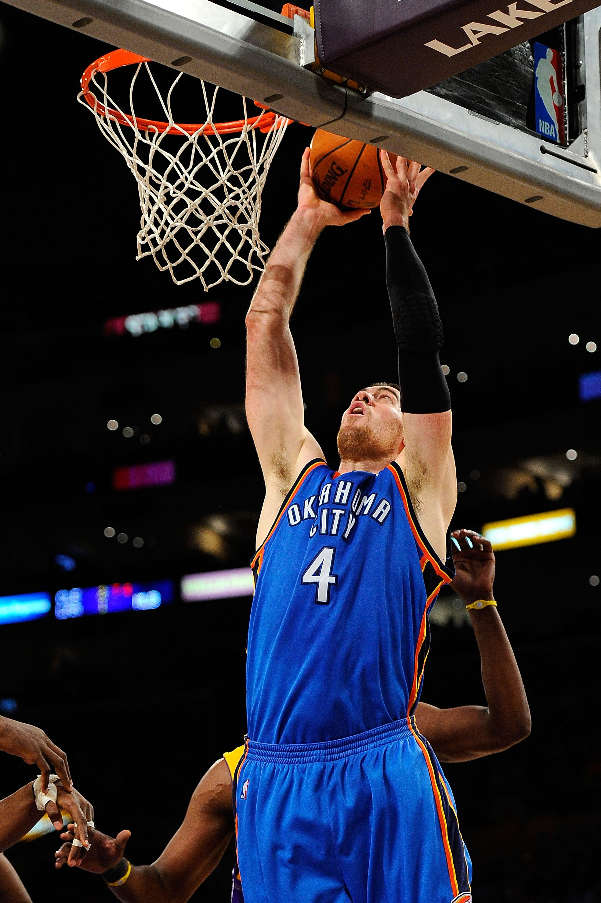 LOS ANGELES, CA - APRIL 27:  Nick Collison #4 of the Oklahoma City Thunder dunks the ball against the Los Angeles Lakers during Game Five of the Western Conference Quarterfinals of the 2010 NBA Playoffs at Staples Center on April 27, 2010 in Los Angeles,
