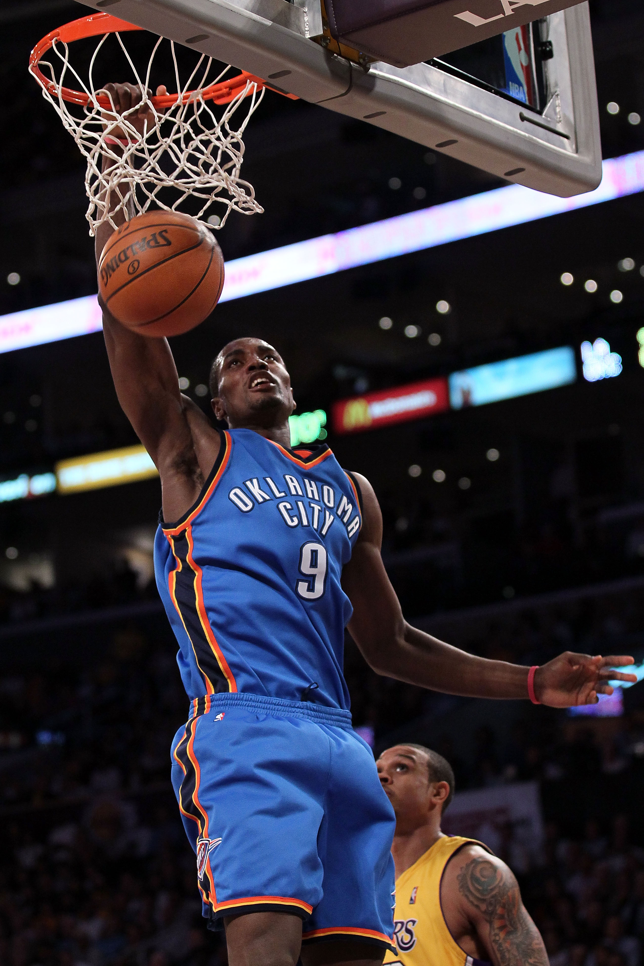 LOS ANGELES, CA - APRIL 27:  Serge Ibaka #9 of the Oklahoma City Thunder dunks the ball in the fourth quarter against the Los Angeles Lakers during Game Five of the Western Conference Quarterfinals of the 2010 NBA Playoffs at Staples Center on April 27, 2