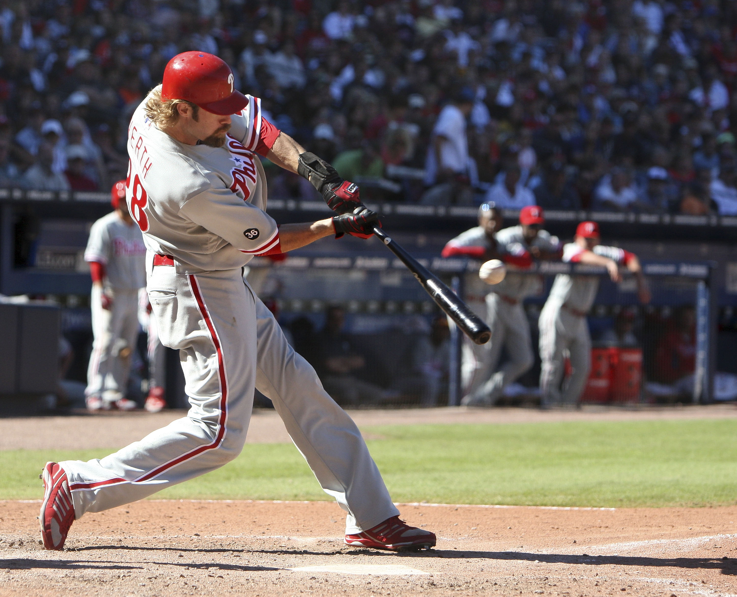 ATLANTA - OCTOBER 3:  Outfielder Jason Werth #28 of the Philadelphia Phillies connects for a two run home run during the game against the Atlanta Braves at Turner Field on October 3, 2010 in Atlanta, Georgia.  The Braves beat the Phillies 8-7.  (Photo by