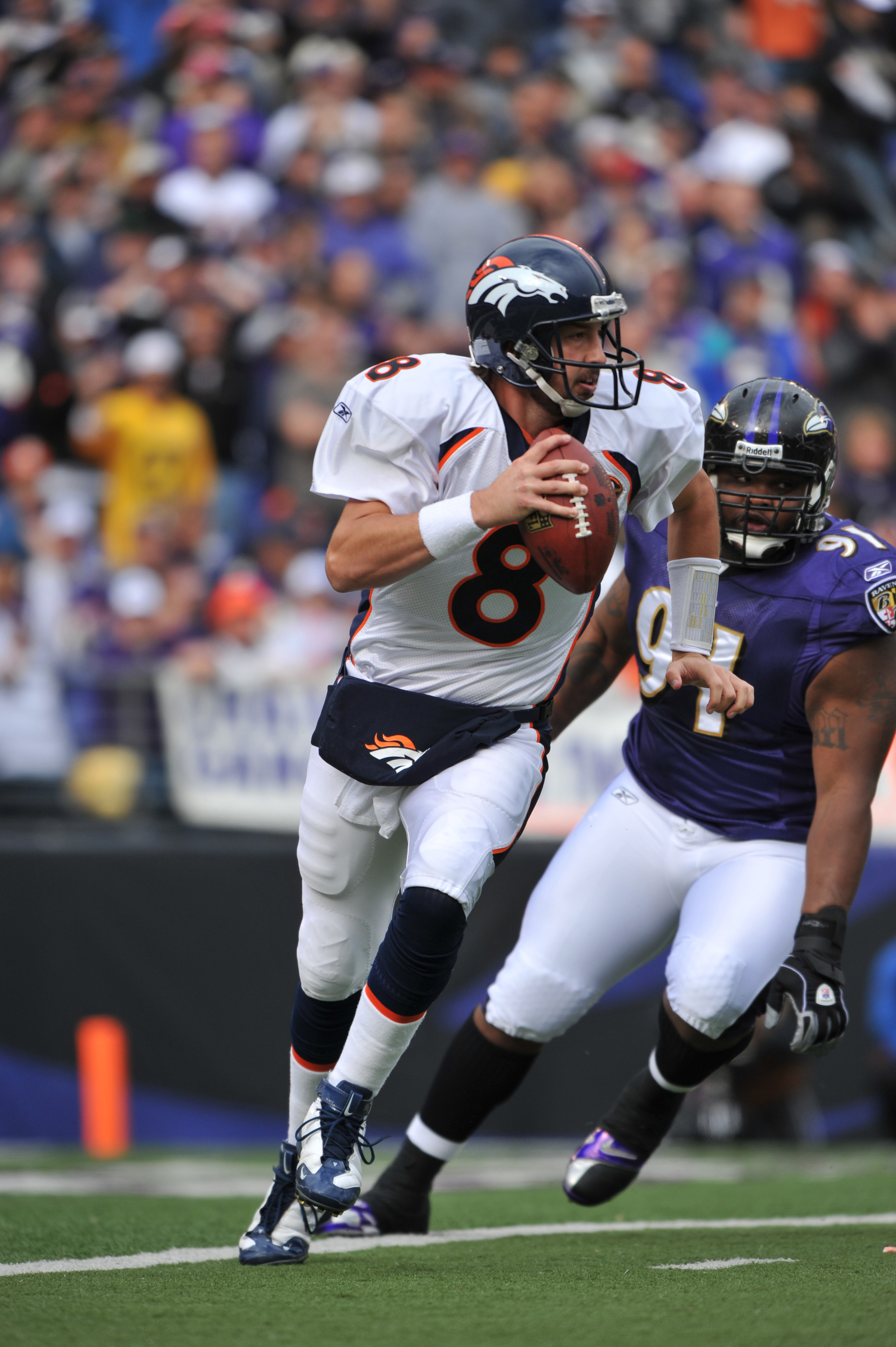 BALTIMORE - NOVEMBER 1: Kyle Orton #8 of the Denver Broncos looks for a receiver during the game against the Baltimore Ravens at M&T Bank Stadium on November 1, 2009 in Baltimore, Maryland. (Photo by Larry French/Getty Images)