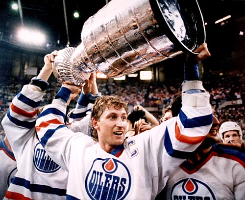Gretzky hoisting the cup.