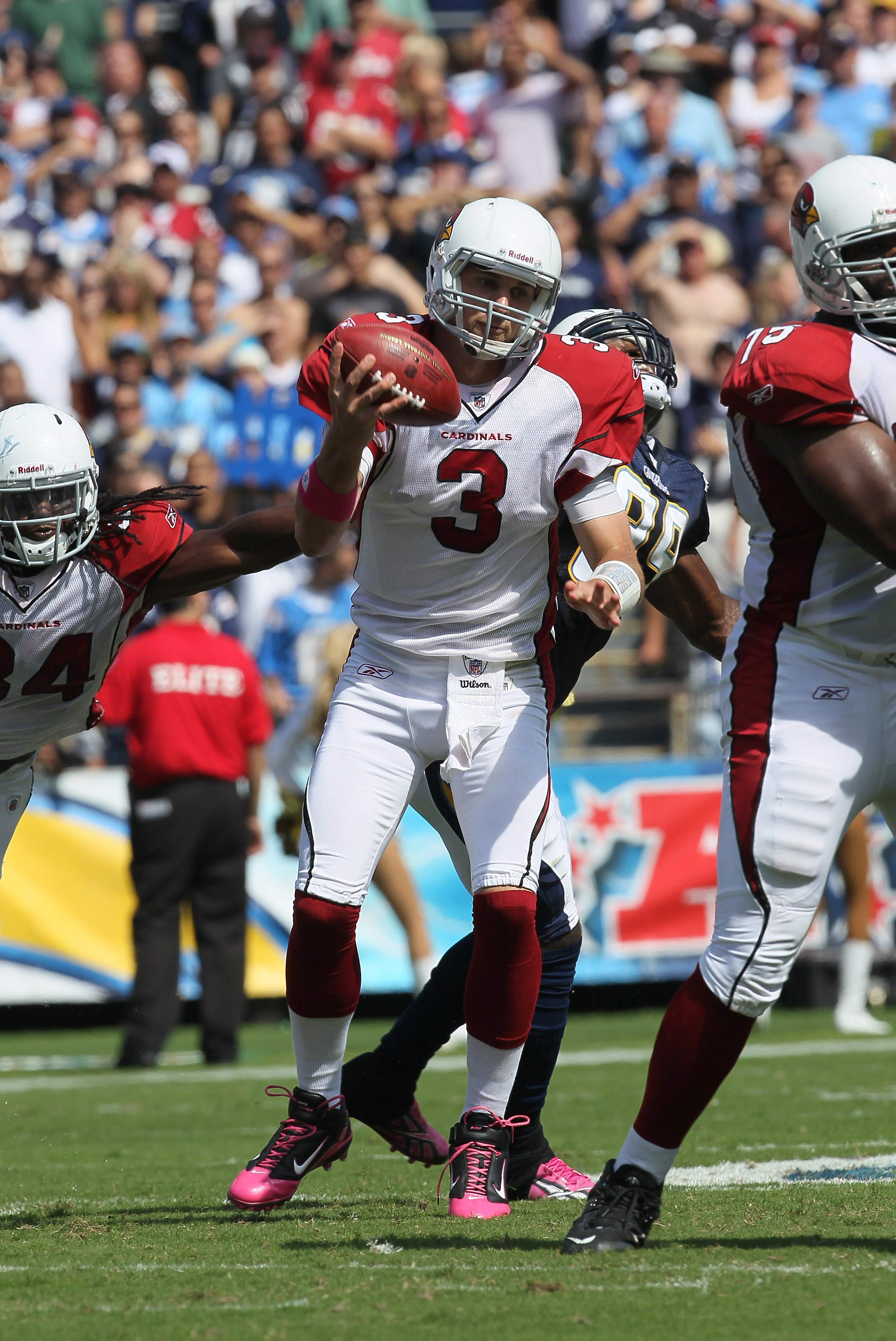SAN DIEGO - OCTOBER 03:  Quarterback Derek Anderson #3 of the Arizona Cardinals holds up as he attempts a pass against the San Diego Chargers at Qualcomm Stadium on October 3, 2010 in San Diego, California.  The Chargers won 41-10.  (Photo by Stephen Dunn