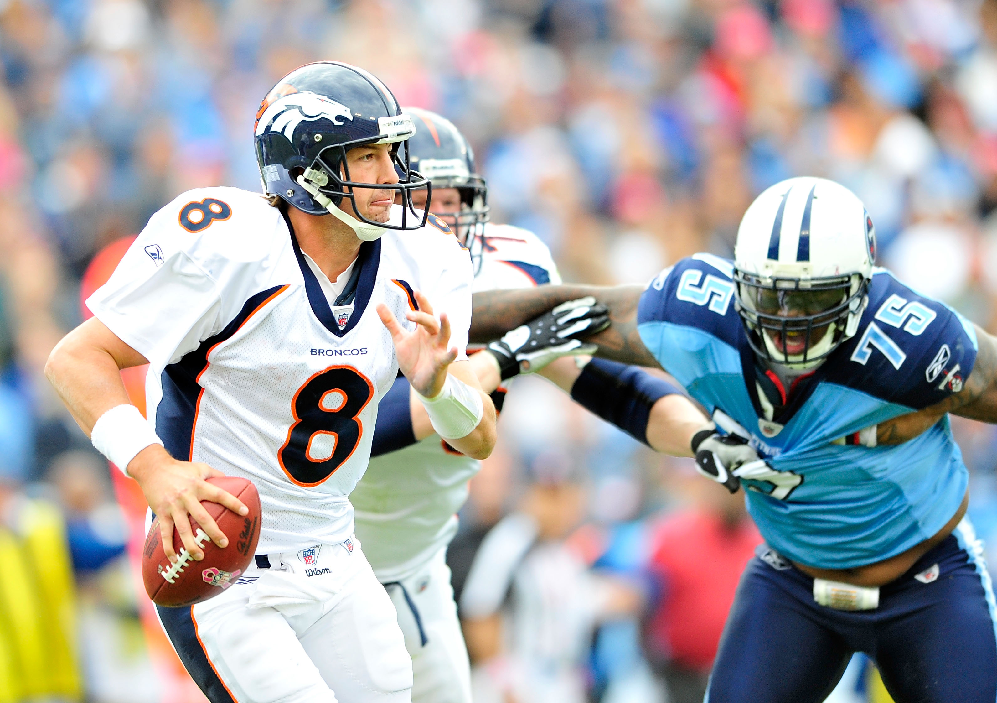 NASHVILLE, TN - OCTOBER 03:  Quarterback Kyle Orton #8 of the Denver Broncos looks to pass against the Tennessee Titans  at LP Field on October 3, 2010 in Nashville, Tennessee. Denver won 26-20.  (Photo by Grant Halverson/Getty Images)