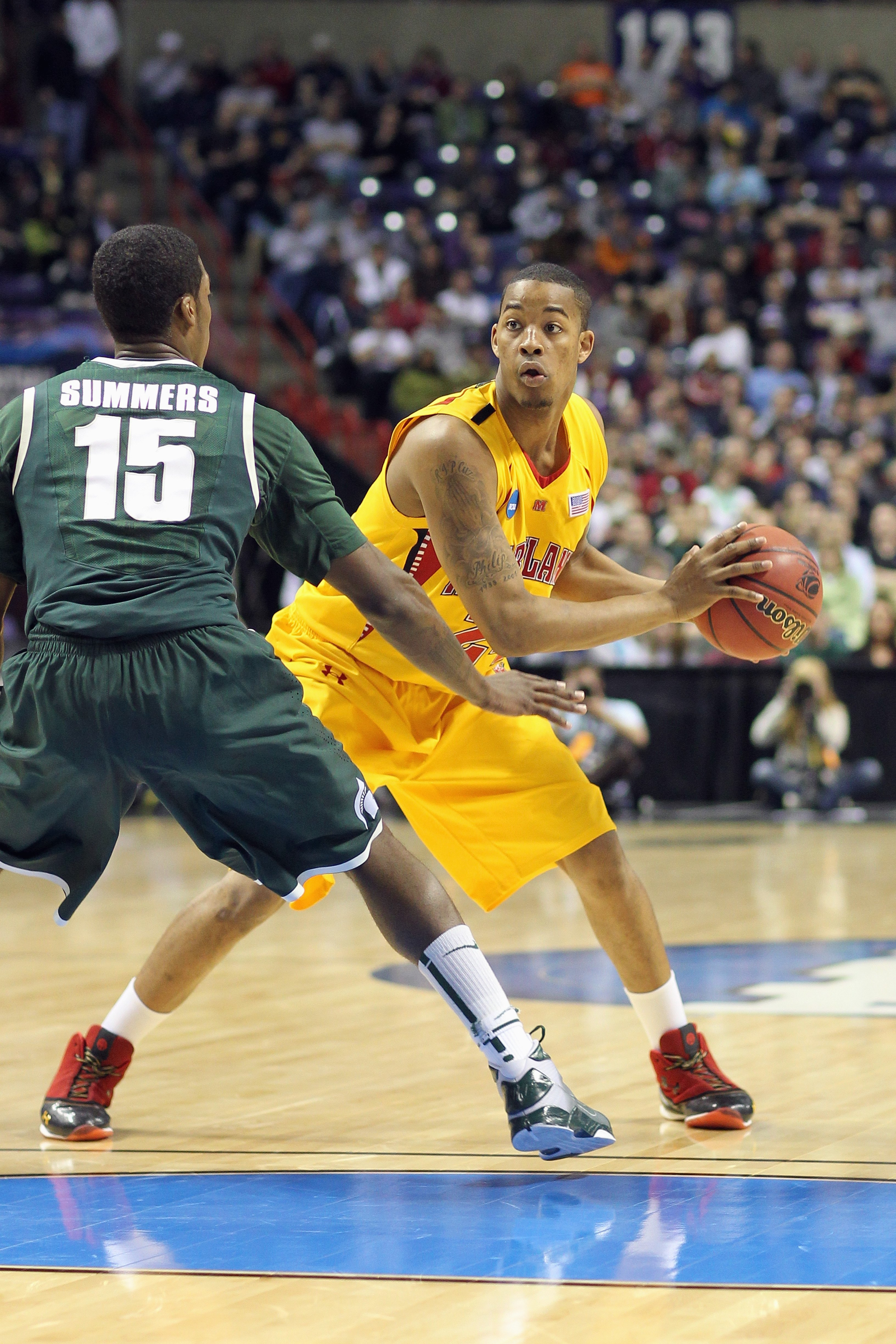 SPOKANE, WA - MARCH 21:  Cliff Tucker #24 of the Maryland Terrapins looks to move the ball against the Michigan State Spartans during the second round of the 2010 NCAA men's basketball tournament at the Spokane Arena on March 21, 2010 in Spokane, Washingt
