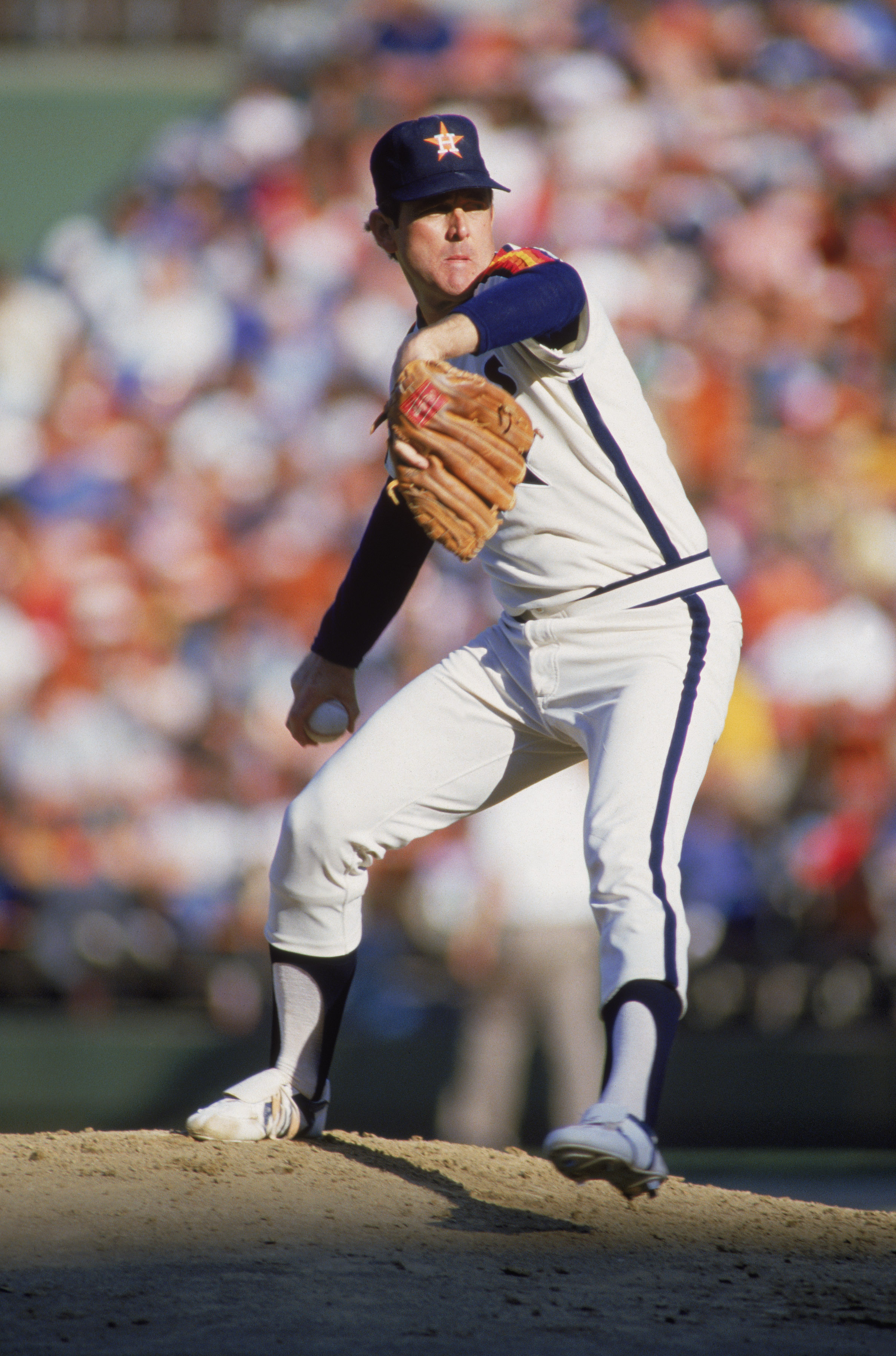 7fbda9585a3 1986: Right hander Nolan Ryan of the Houston Astros pitches the ball during  a MLB
