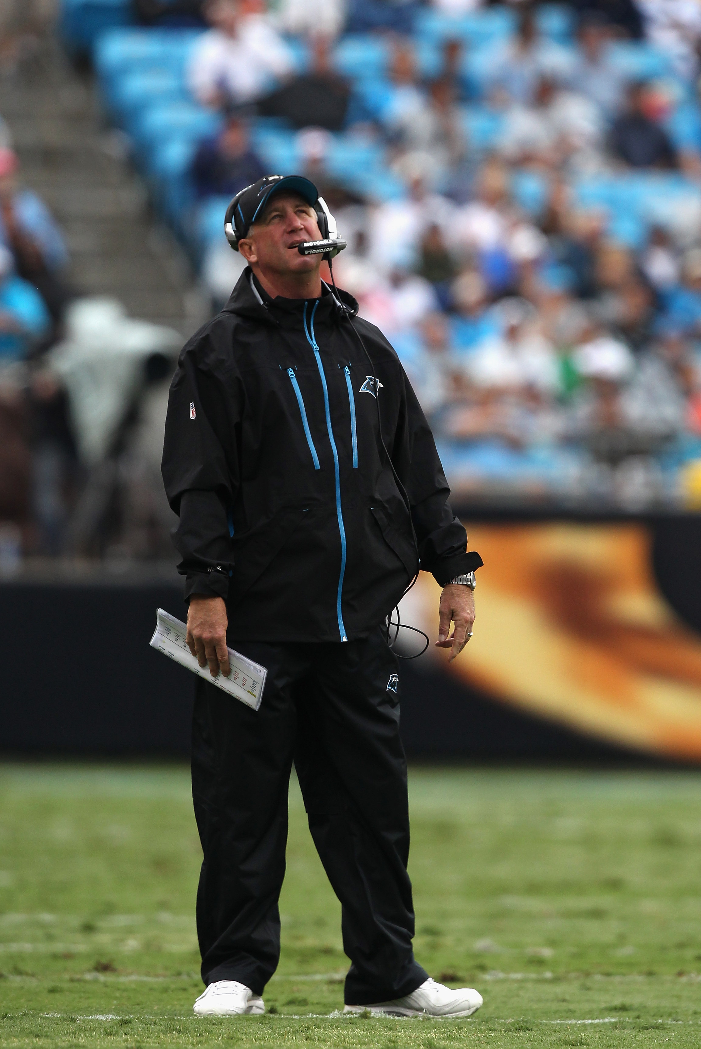 CHARLOTTE, NC - SEPTEMBER 26:  Head coach John Fox of the Carolina Panthers reacts to a call against the Cincinnati Bengals during their game at Bank of America Stadium on September 26, 2010 in Charlotte, North Carolina.  (Photo by Streeter Lecka/Getty Im