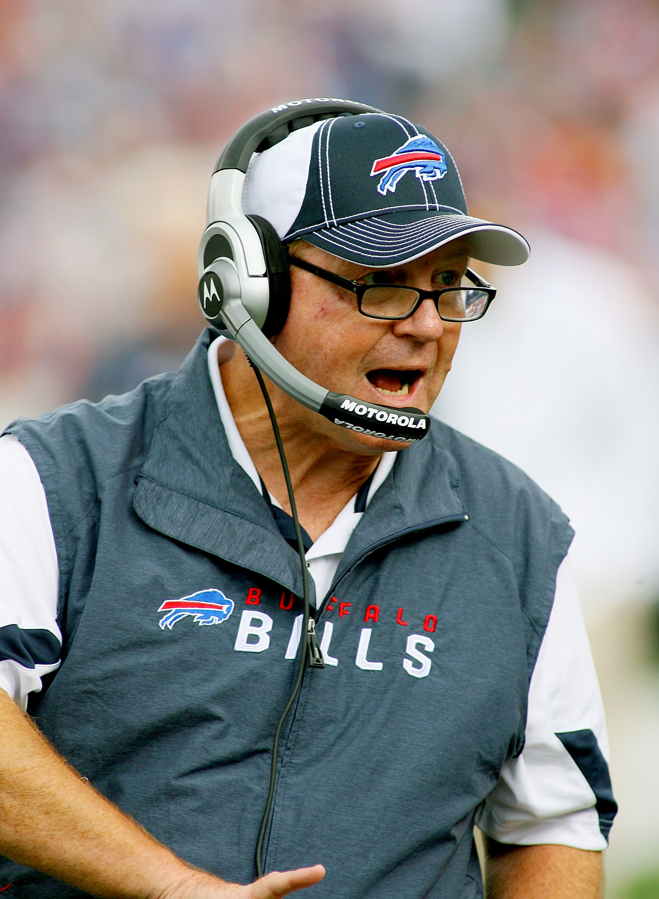 ORCHARD PARK, NY - SEPTEMBER 12: Chan Gailey, coaches his first regular season game as Bills head coach against the Miami Dolphins during the NFL season opener at Ralph Wilson Stadium on September 12, 2010 in Orchard Park, New York. Miami won 15-10. (Phot