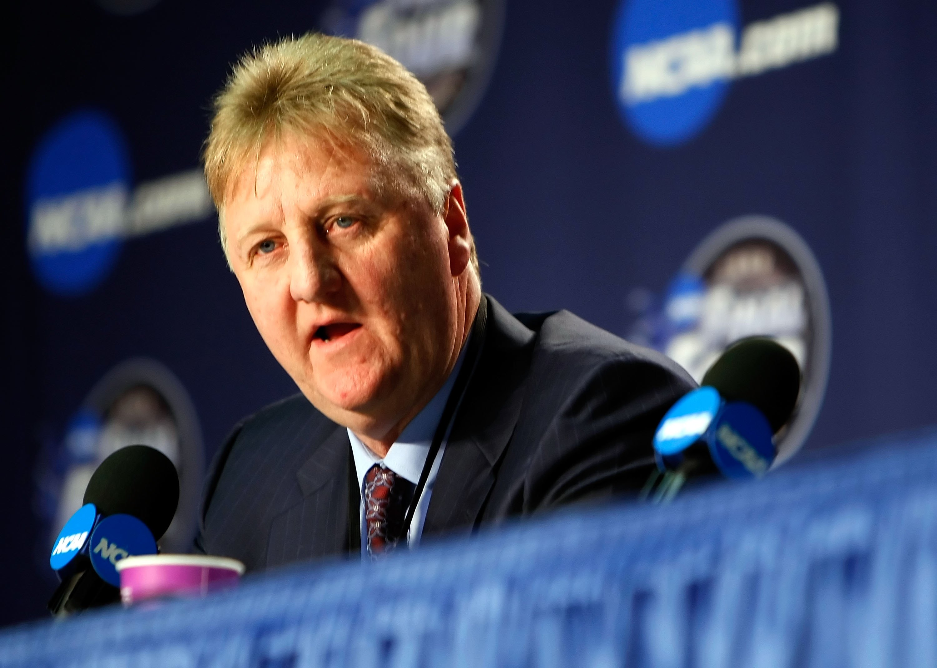 DETROIT - APRIL 06:  Larry Bird answers questions with Earvin 'Magic' Johnson (not pictured) during a news conference to relive their 1979 NCAA Championship Game between Indiana State and Michigan State before the 2009 NCAA Division I Men's Basketball Nat