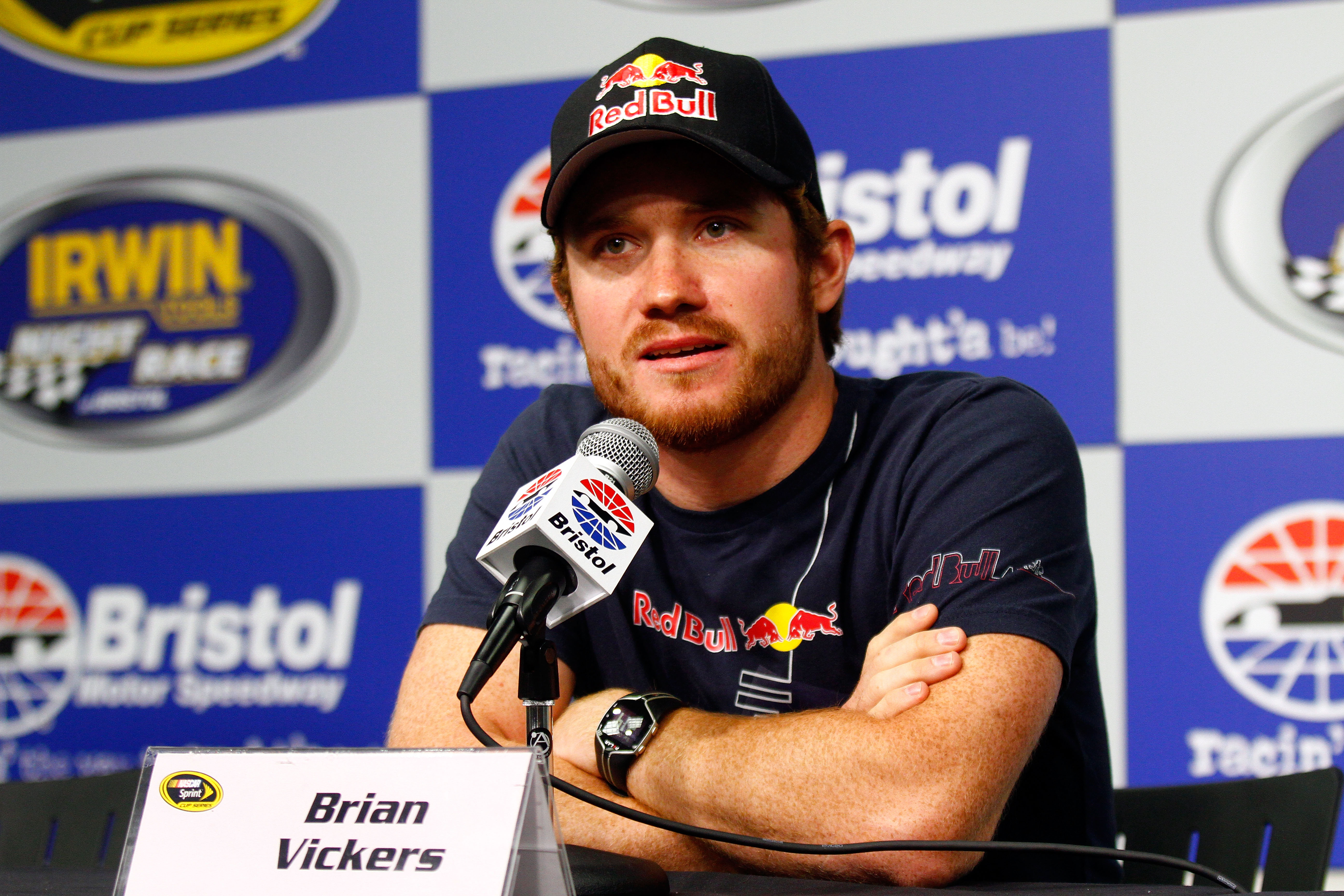 BRISTOL, TN - AUGUST 21:  NASCAR driver Brian Vickers speaks to the media prior to the NASCAR Sprint Cup Series IRWIN Tools Night Race at Bristol Motor Speedway on August 21, 2010 in Bristol, Tennessee.  (Photo by Jason Smith/Getty Images)
