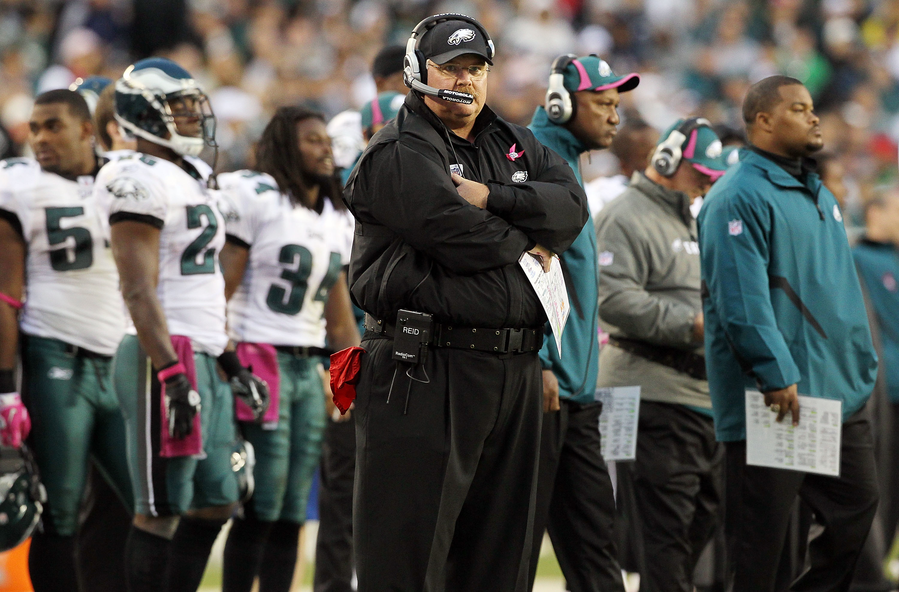PHILADELPHIA - OCTOBER 03:  Head coach Andy Reid of the Philadelphia Eagles looks on against the Washington Redskins on October 3, 2010 at Lincoln Financial Field in Philadelphia, Pennsylvania. The Redskins defeated the Eagles 17-12.  (Photo by Jim McIsaa