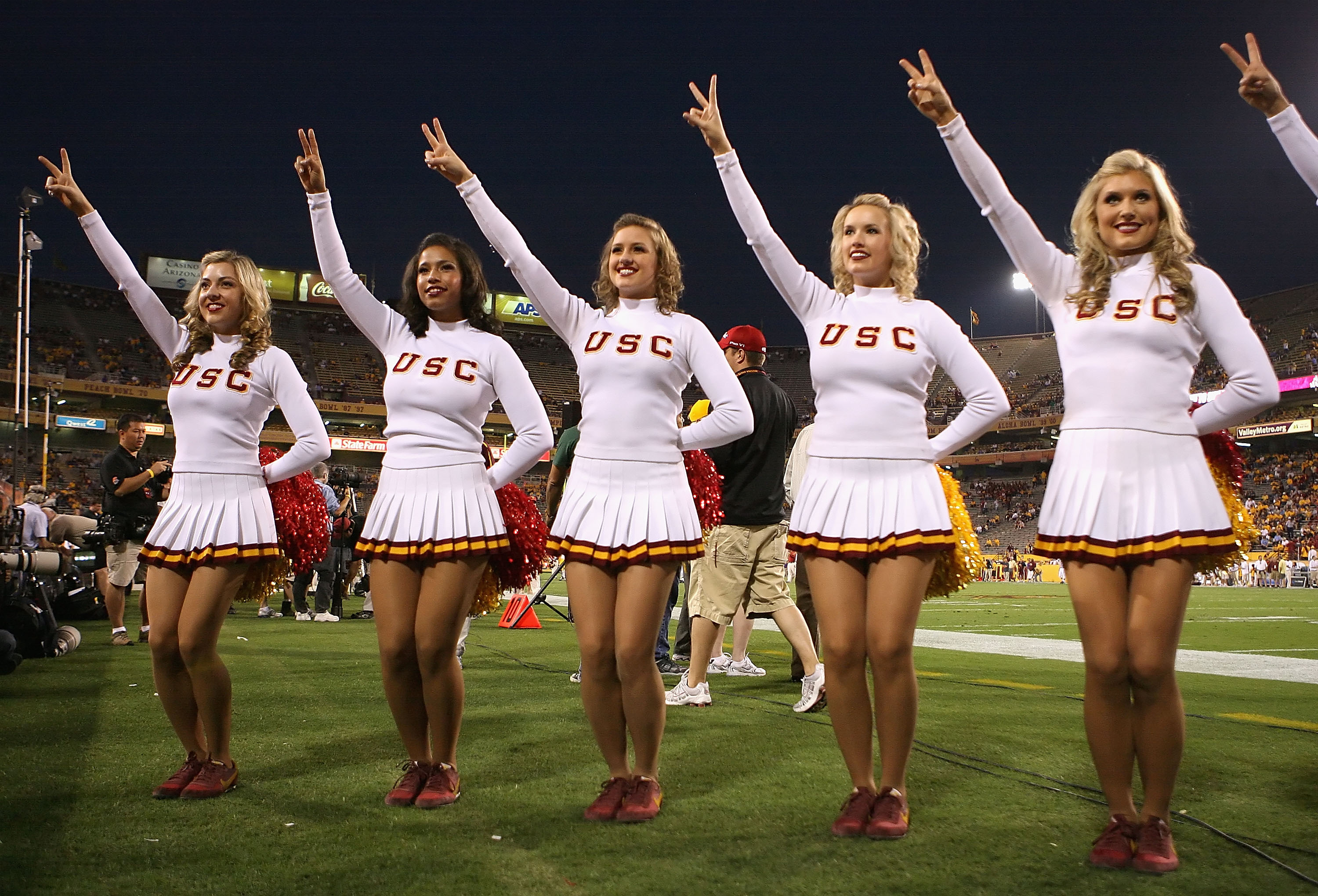 TEMPE, AZ - NOVEMBER 07:  The USC Trojans 'song girls' perform before the college football game against the Arizona State Sun Devils at Sun Devil Stadium on November 7, 2009 in Tempe, Arizona. The Trojans defeated the Devils 14-9.  (Photo by Christian Pet