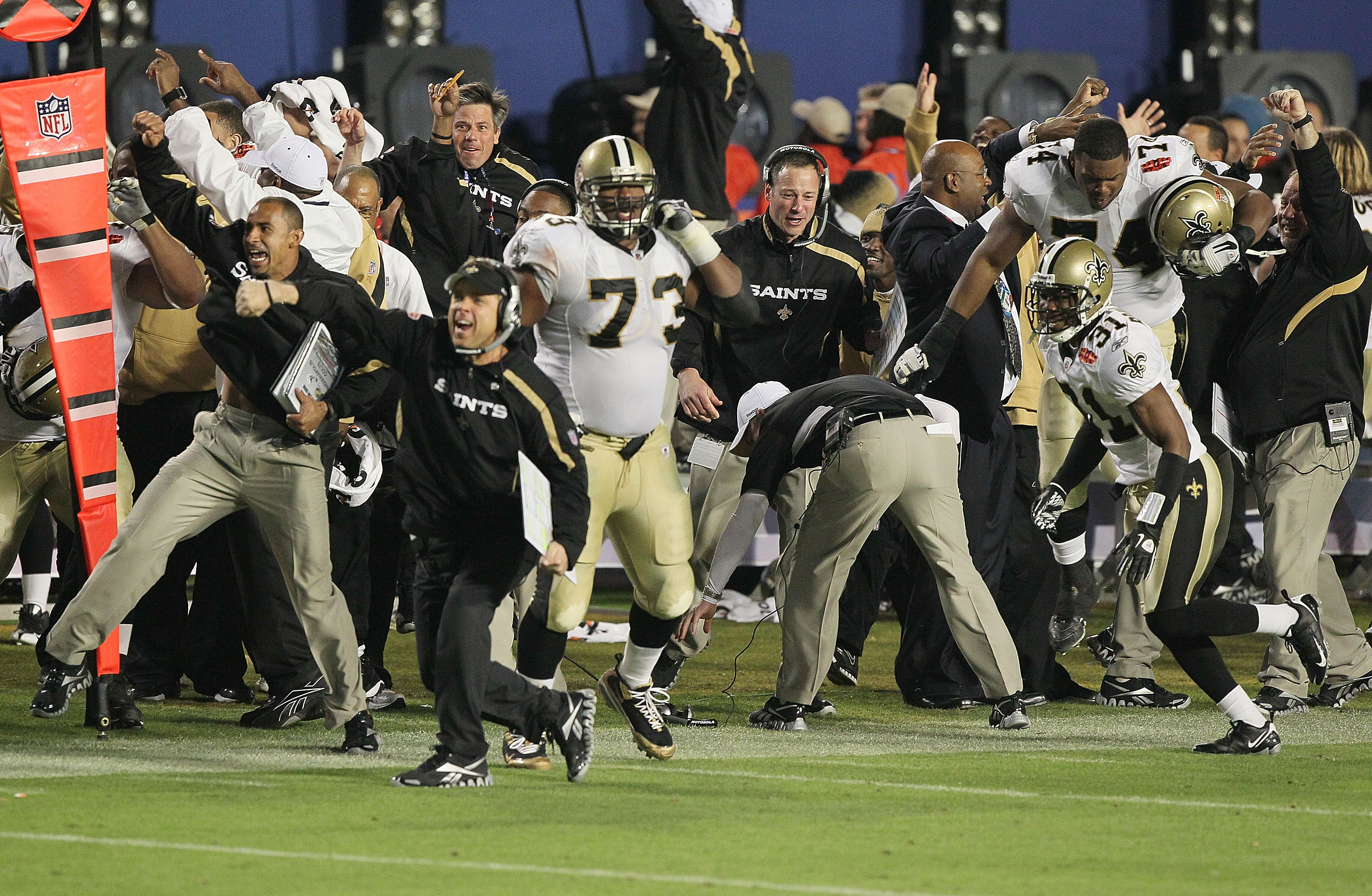 MIAMI GARDENS, FL - FEBRUARY 07: Head coach Sean Payton of the New Orleans Saints reacts to Tracy Porter's interception of Peyton Manning of the Indianapolis Colts for a touchdown in the fourth quarter during Super Bowl XLIV on February 7, 2010 at Sun Lif