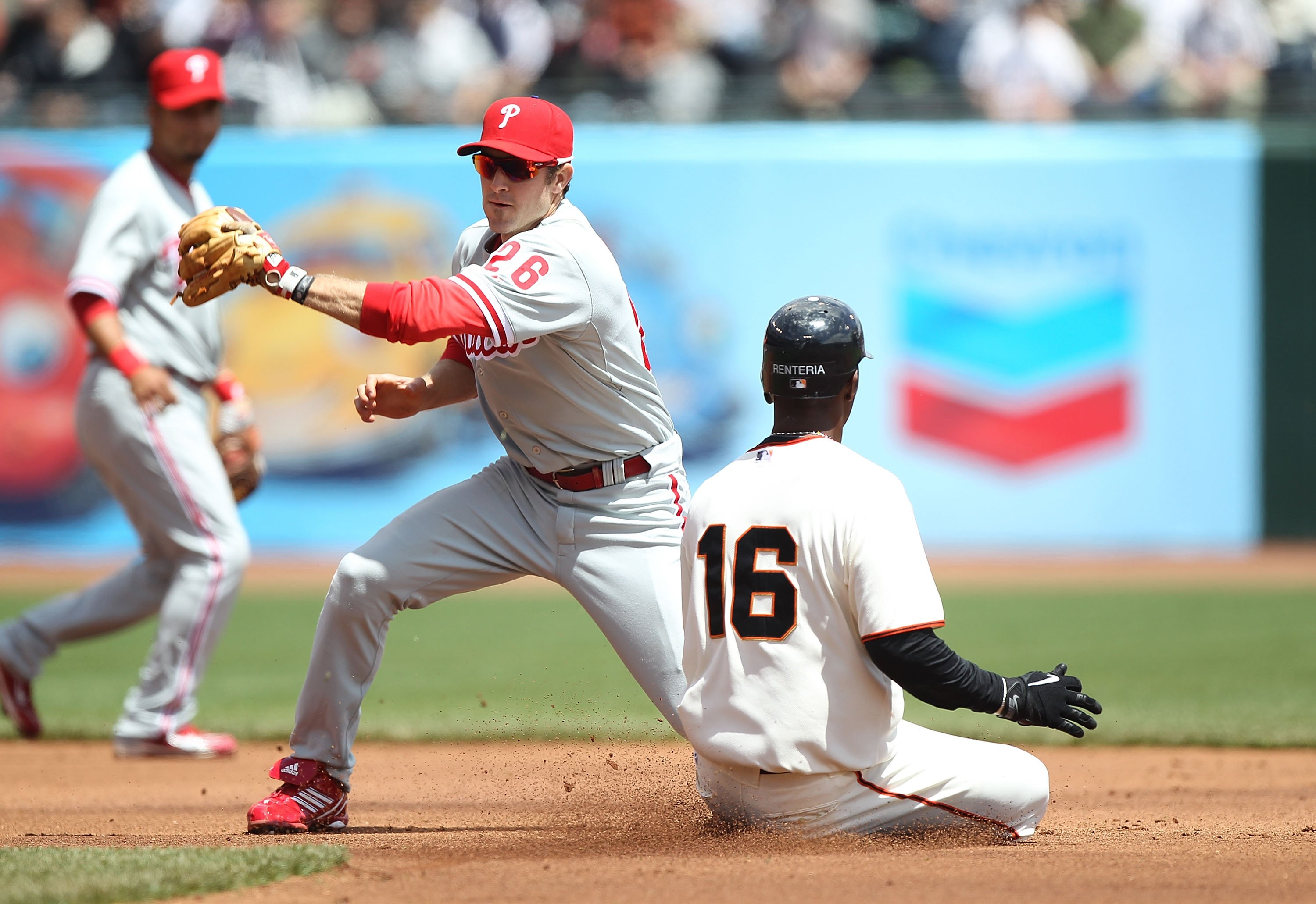 SAN FRANCISCO - APRIL 28:  Chase Utley #26 of the Philadelphia Phillies in action against the San Francisco Giants during an MLB game at AT&T Park on April 28, 2010 in San Francisco, California.  (Photo by Jed Jacobsohn/Getty Images)