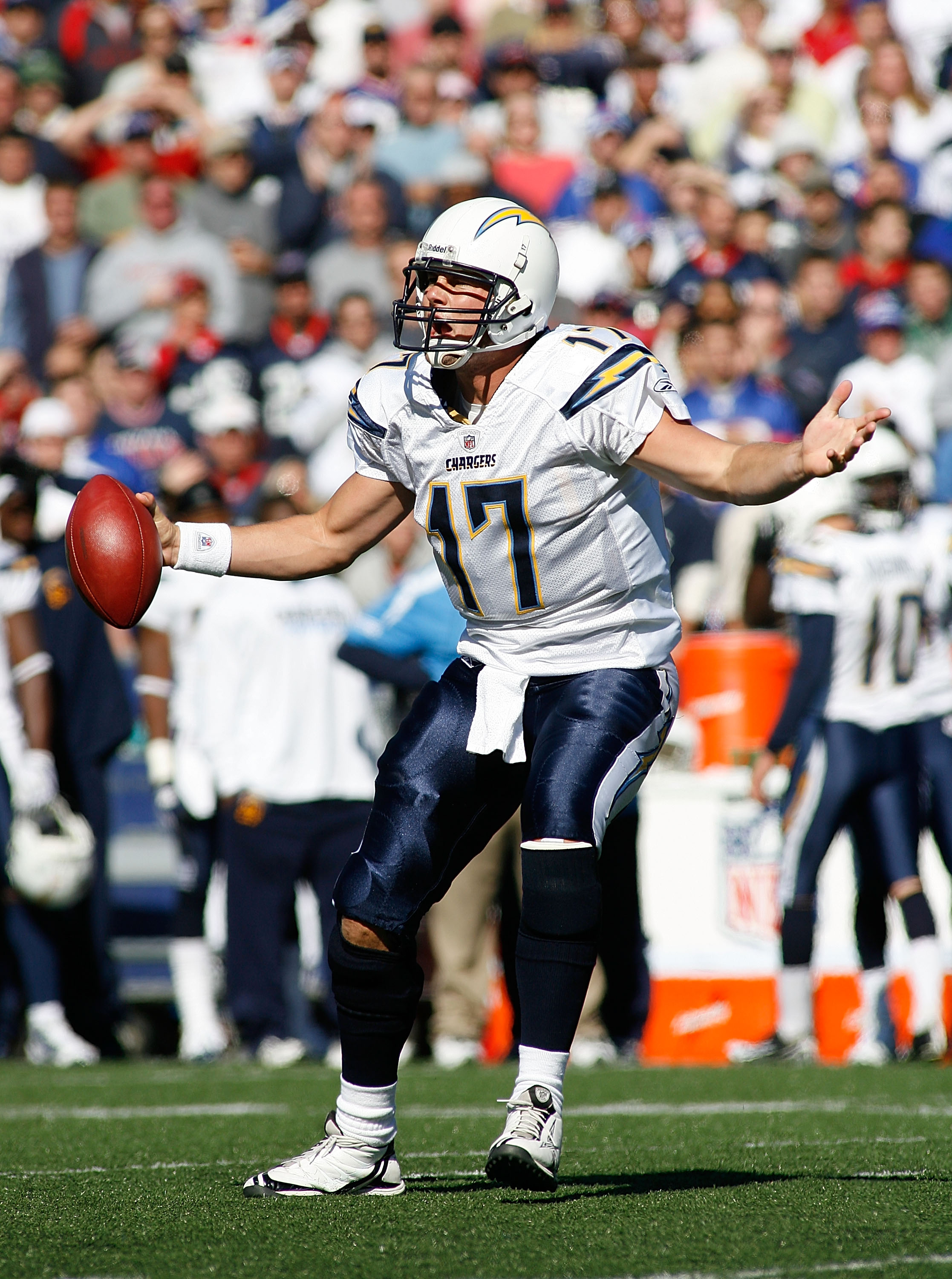 ORCHARD PARK, NY - OCTOBER 19:  Philip Rivers #17 of the San Diego Chargers complains to officials after being called for delay of the game during a power outage against the Buffalo Bills  on October 19, 2008 at Ralph Wilson Stadium in Orchard Park, New Y