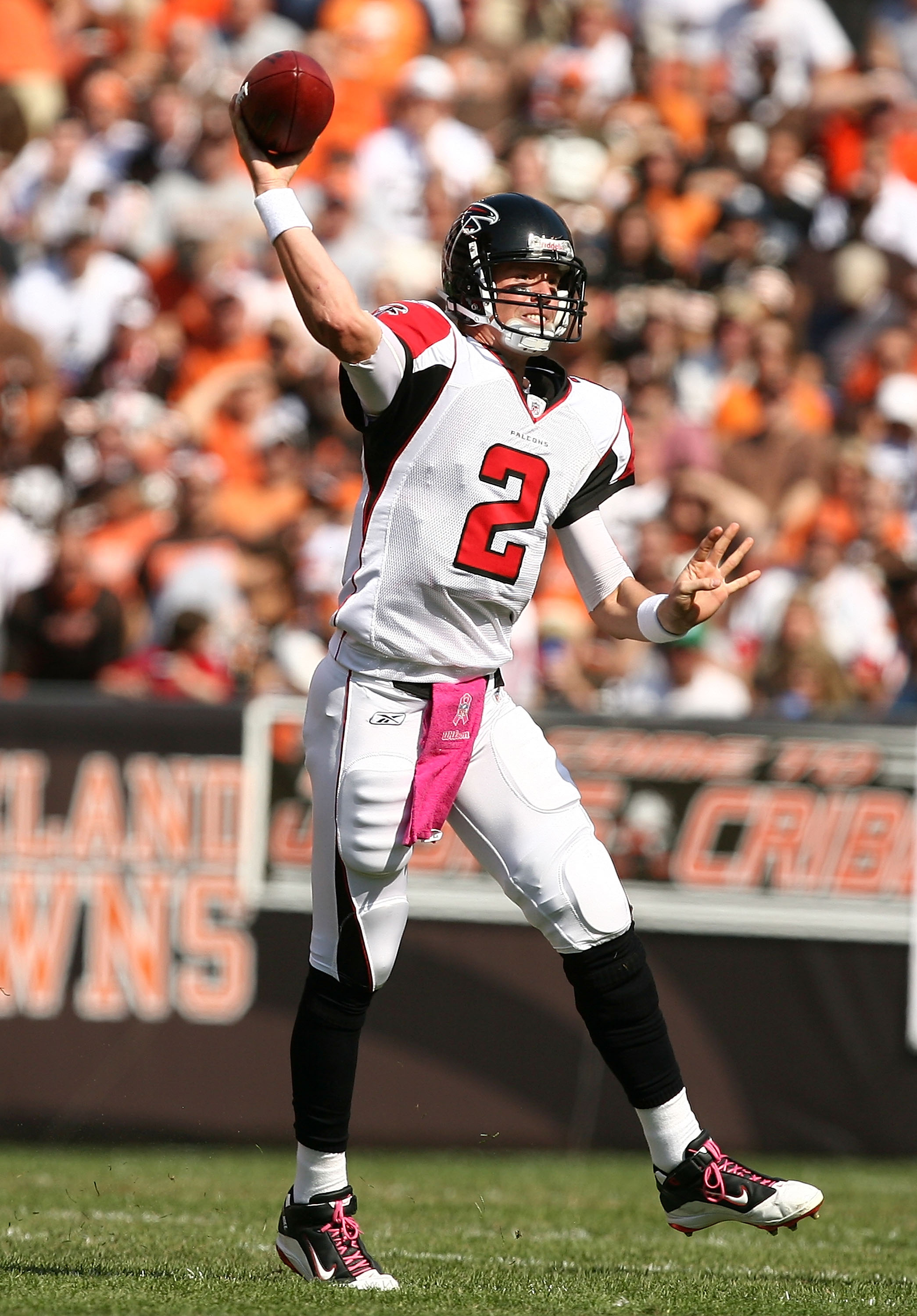 CLEVELAND - OCTOBER 10:  Quarterback Matt Ryan #2 of the Atlanta Falcons throws to a receiver against the Cleveland Browns at Cleveland Browns Stadium on October 10, 2010 in Cleveland, Ohio.  (Photo by Matt Sullivan/Getty Images)