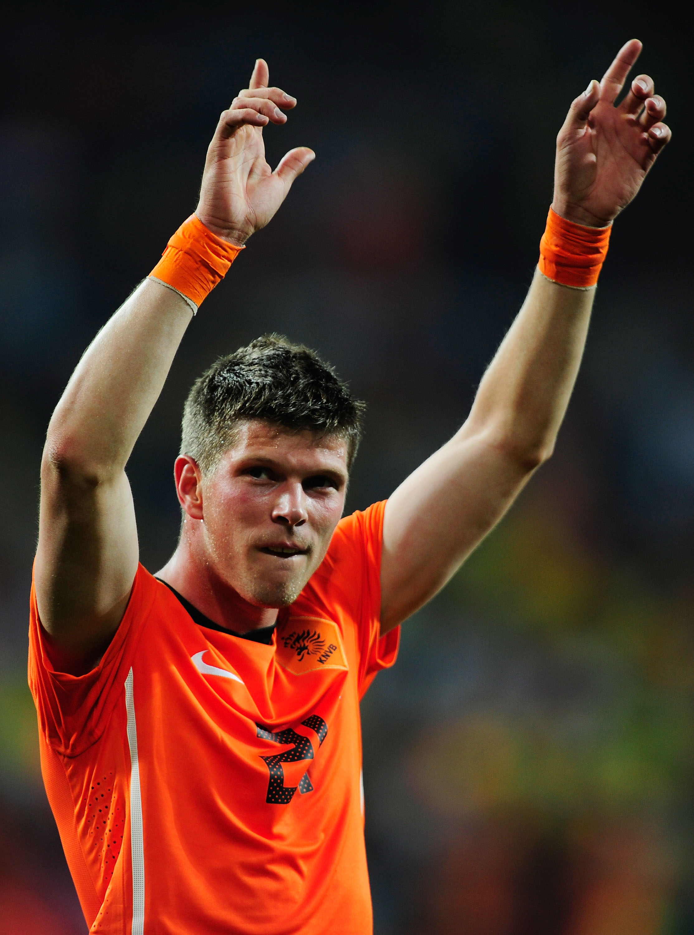 PORT ELIZABETH, SOUTH AFRICA - JULY 02:  Klaas Jan Huntelaar of the Netherlands celebrates after victory and progress to the semi-finals during the 2010 FIFA World Cup South Africa Quarter Final match between Netherlands and Brazil at Nelson Mandela Bay S