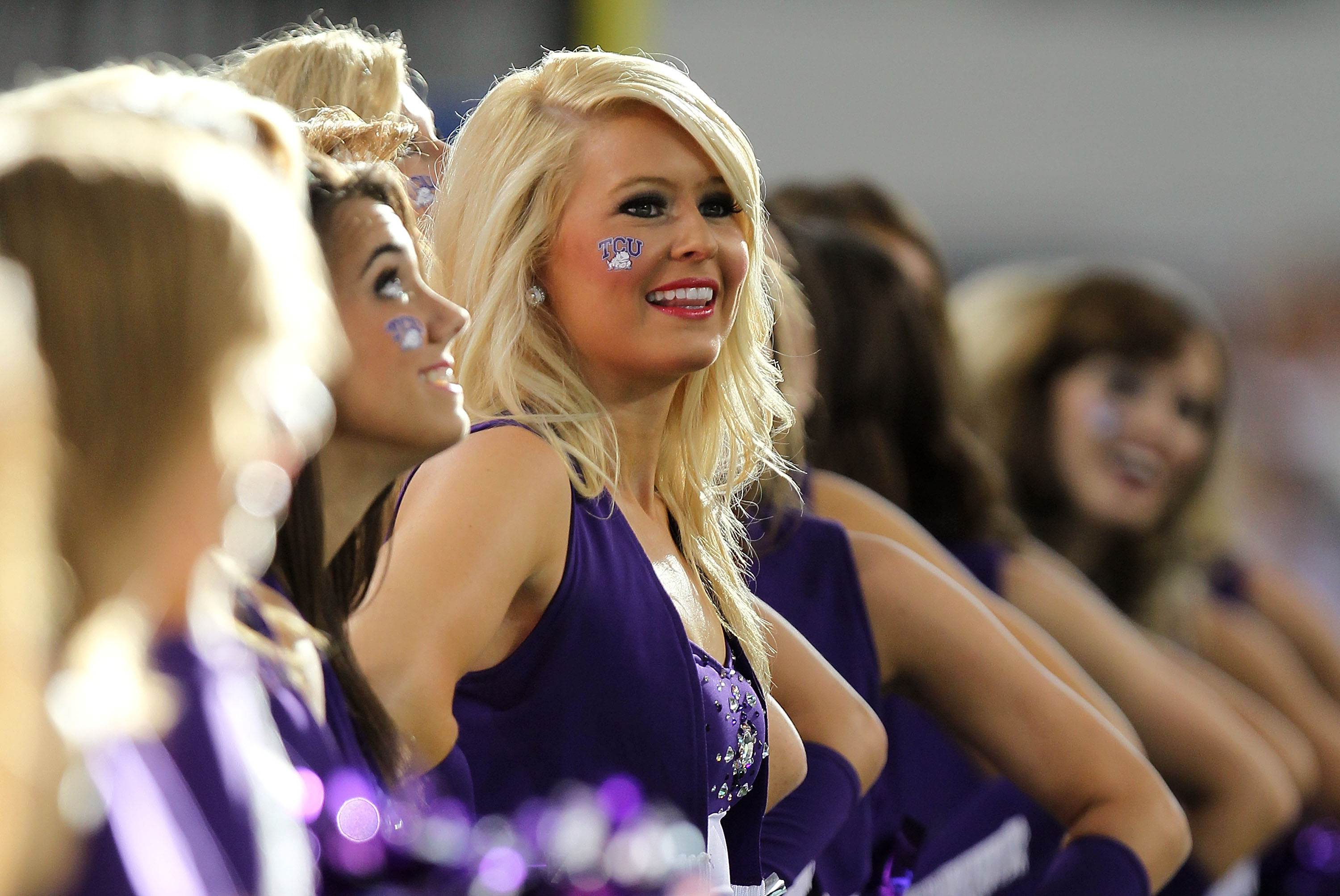ARLINGTON, TX - SEPTEMBER 04:  A TCU Horned Frogs cheerleader during a game against the Oregon State Beavers at Cowboys Stadium on September 4, 2010 in Arlington, Texas.  (Photo by Ronald Martinez/Getty Images)