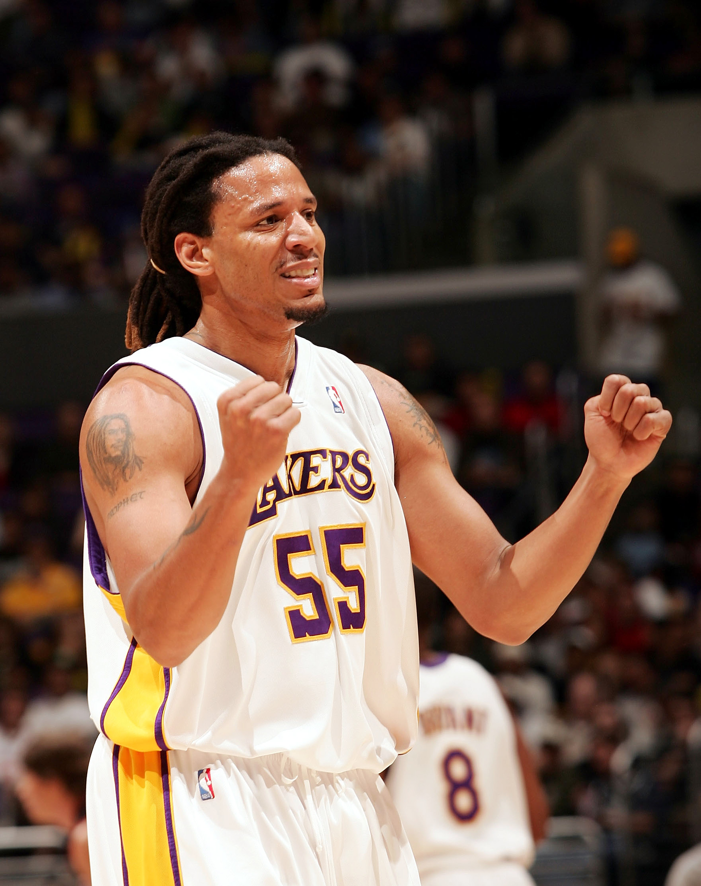 LOS ANGELES - MARCH 27:  Brian Grant #55 of the Los Angeles reacts to a call during the game against the Philadelphia 76ers at the Staples Center on March 27, 2005 in Los Angeles, California. The Sixers defeated the Lakers 96-89.  NOTE TO USER: User expre