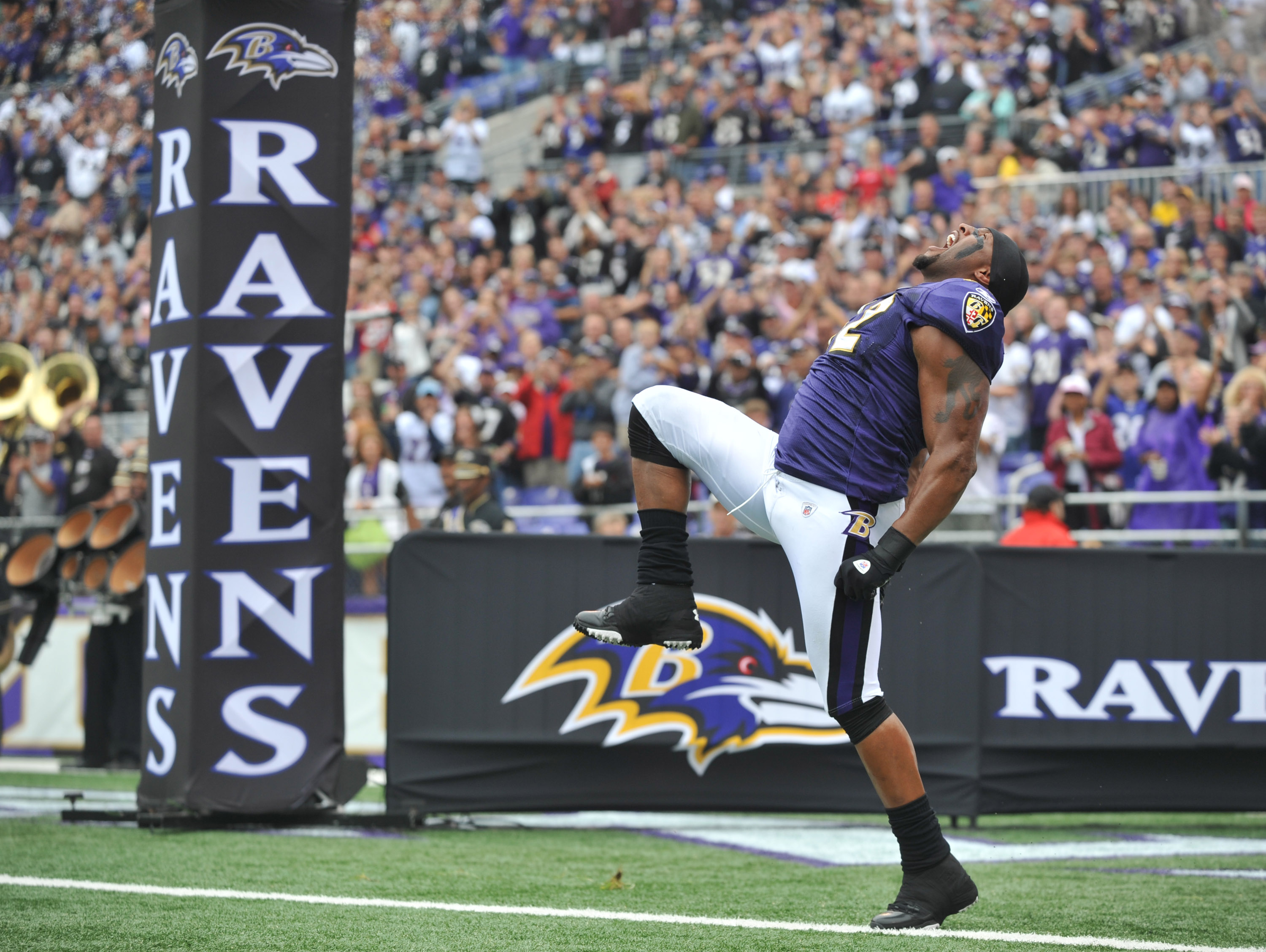 BALTIMORE - SEPTEMBER 26:  Ray Lewis #52 of the Baltimore Ravens is introduced before the game against the Cleveland Browns  at M&T Bank Stadium on September 26, 2010 in Baltimore, Maryland. The Ravens defeated the Browns 24-17. (Photo by Larry French/Get