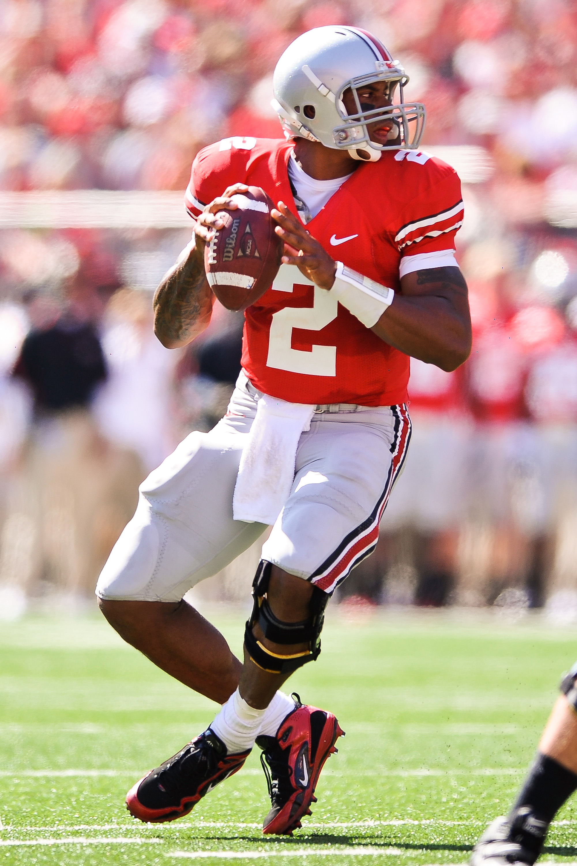 COLUMBUS, OH - OCTOBER 9:  Quarterback Terrelle Pryor #2 of the Ohio State Buckeyes drops back to pass against the Indiana Hoosiers at Ohio Stadium on October 9, 2010 in Columbus, Ohio.  (Photo by Jamie Sabau/Getty Images)