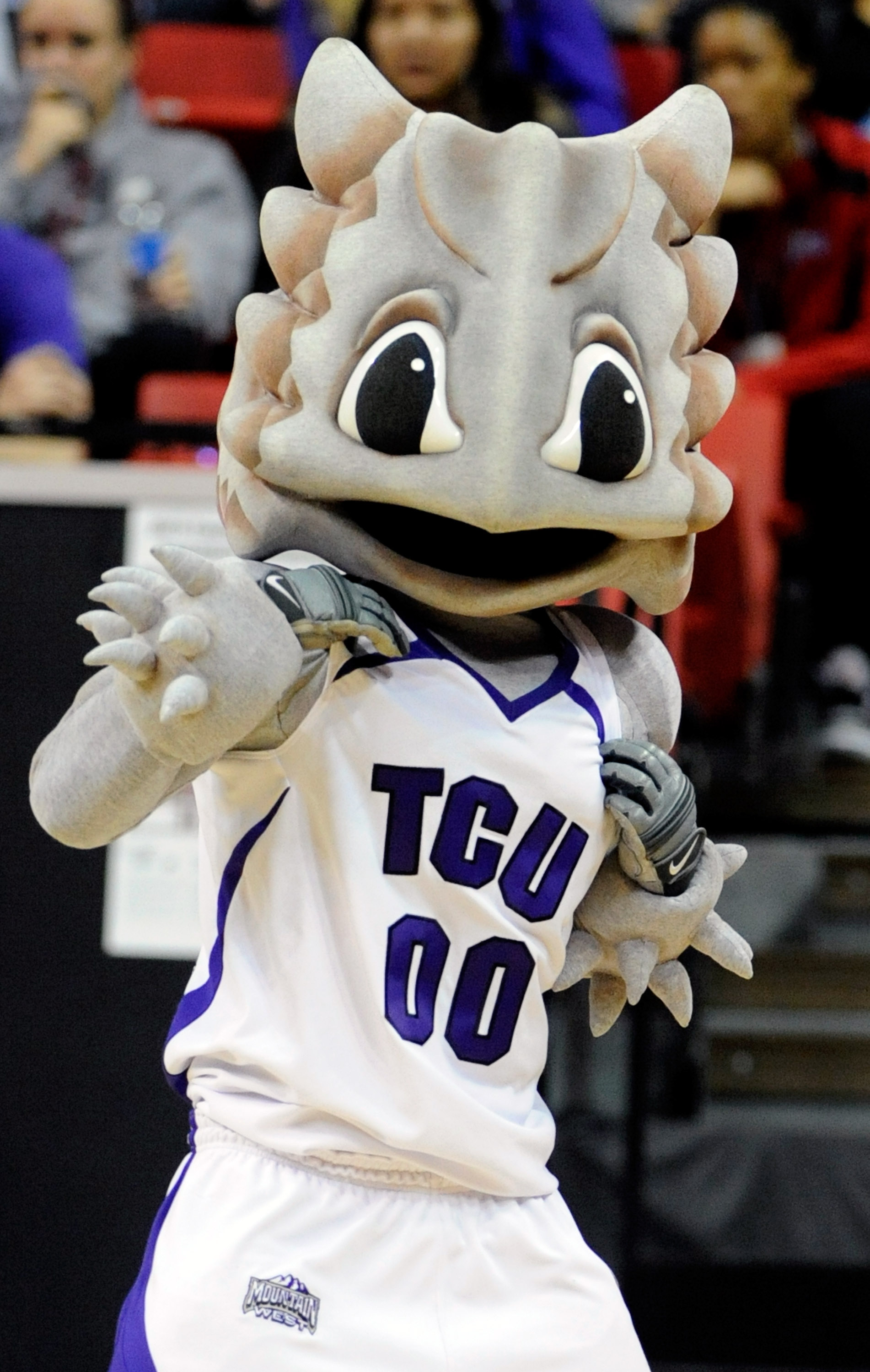 LAS VEGAS - MARCH 11:  The Texas Christian University Horned Frogs mascot Superfrog performs during a quarterfinal game against the Brigham Young University Cougars at the Conoco Mountain West Conference Basketball tournament at the Thomas & Mack Center M