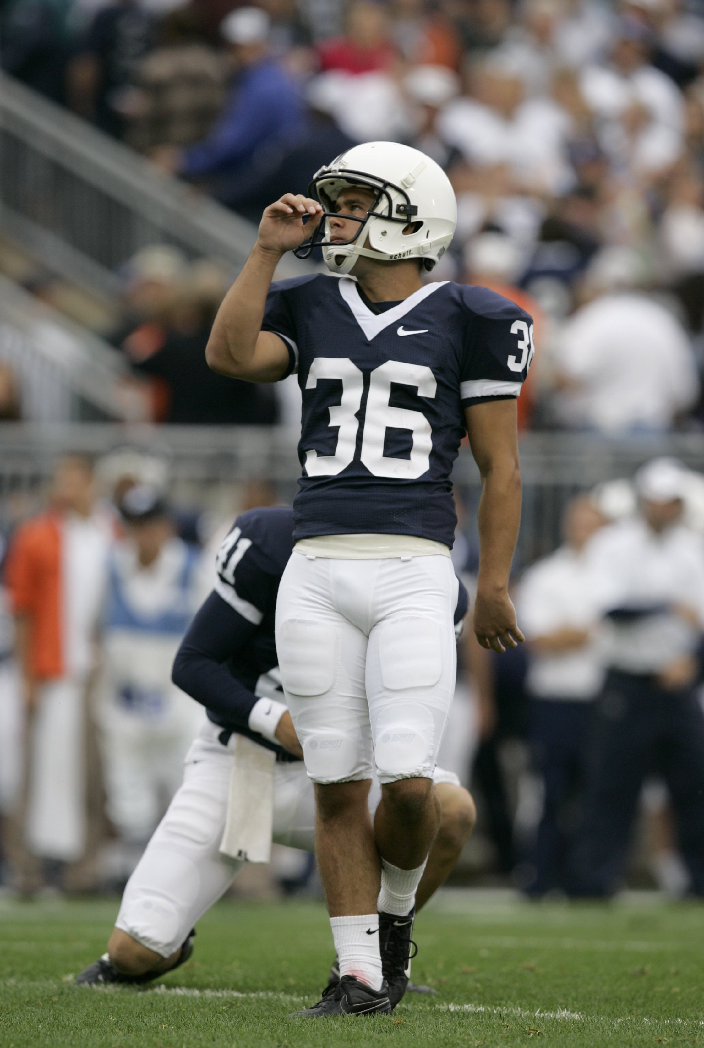 STATE COLLEGE, PA - SEPTEMBER 12: Place kicker Collin Wagner #36 of the Penn State Nittany Lions watches a point after touchdown against the Syracuse Orangemen at Beaver Stadium  September 12, 2009 in State College, Pennsylvania. (Photo by Chris Gardner/G