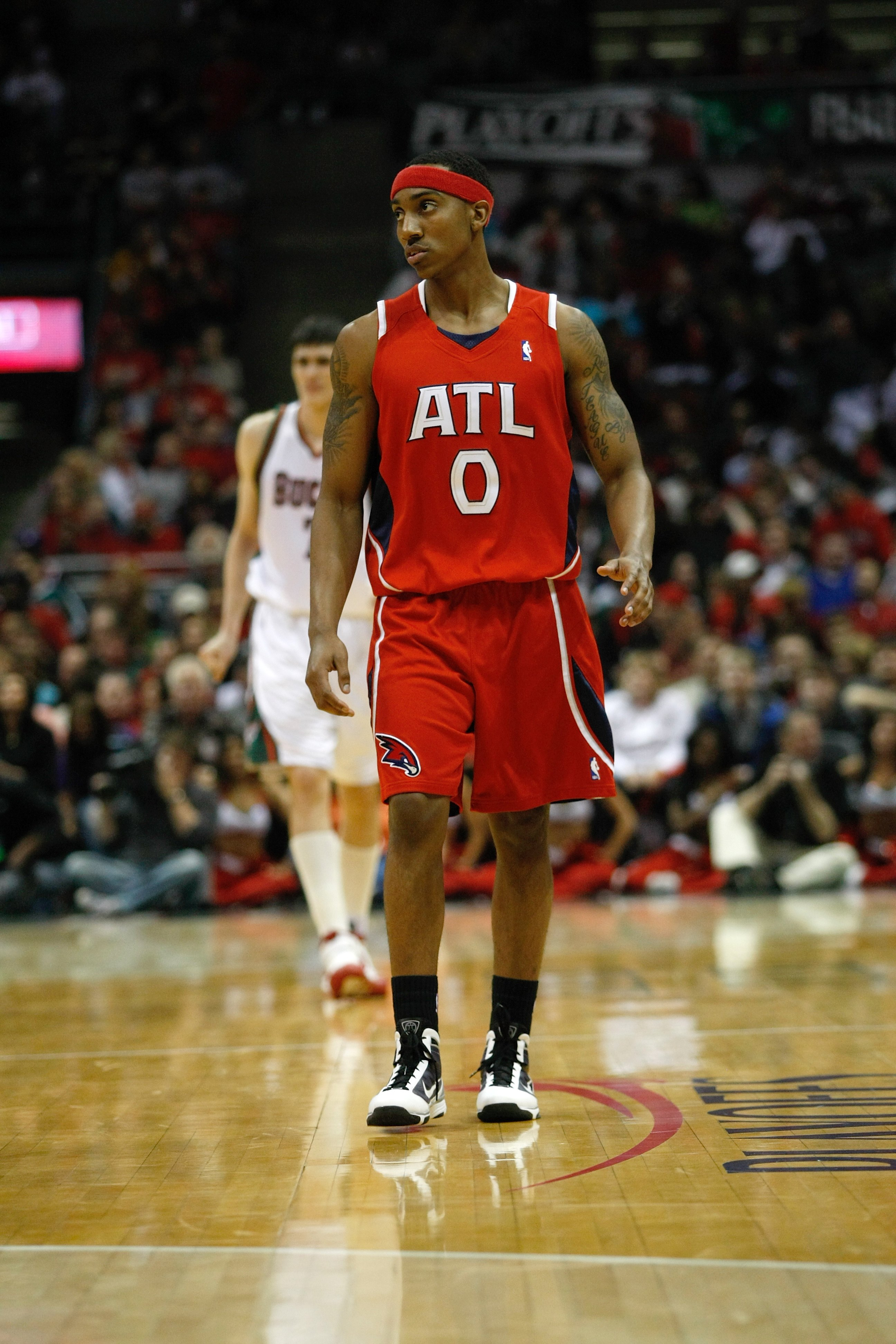 MILWAUKEE, WI - APRIL 24: Jeff Teague #0 of the Atlanta Hawks walks on the court against the Milwaukee Bucks during Game Three of Eastern Conference Quarterfinals of the 2010 NBA Playoffs at the Bradley Center on April 24, 2010 in Milwaukee, Wisconsin. Th