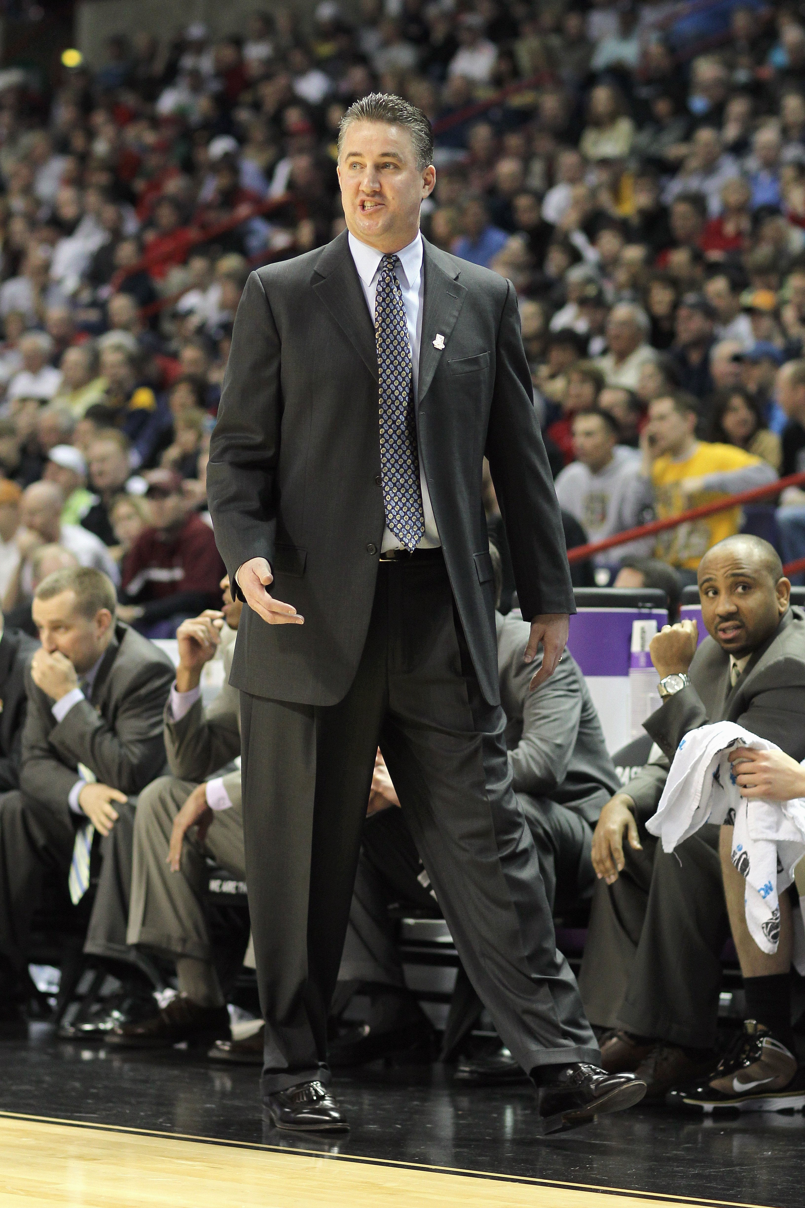 SPOKANE,WA - MARCH 21: Head coach Matt Painter of the Purdue Boilermakers walks on the sidelines against the Texas A&M Aggies during the second round of the 2010 NCAA men's basketball tournament at the Spokane Arena on March 21, 2010 in Spokane, Washingto