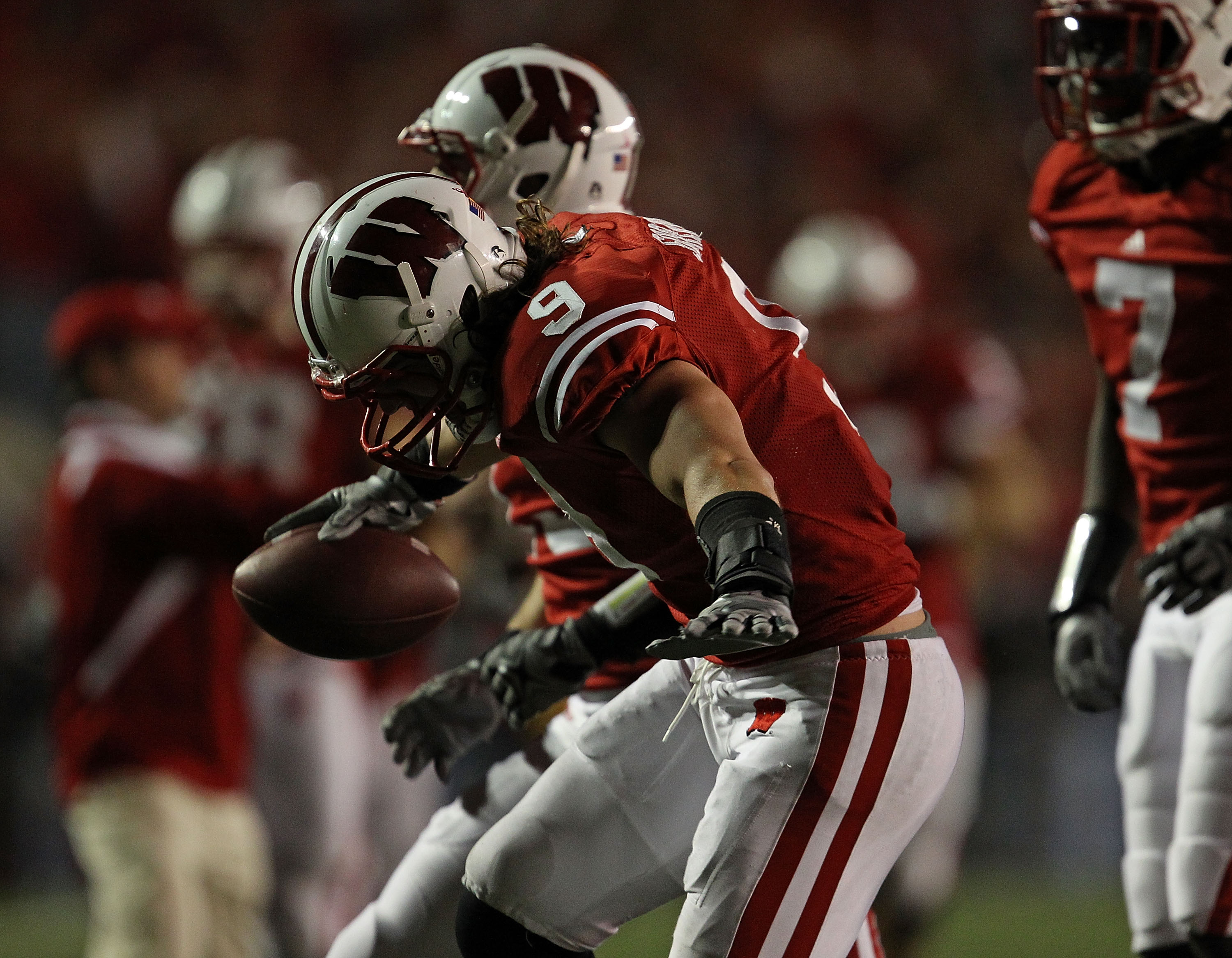MADISON, WI - OCTOBER 16: Blake Sorensen #9 of the Wisconsin Badgers celebrates his interception near the end of a game against the Ohio State Buckeyes at Camp Randall Stadium on October 16, 2010 in Madison, Wisconsin. Wisconsin defeated Ohio State 31-18.