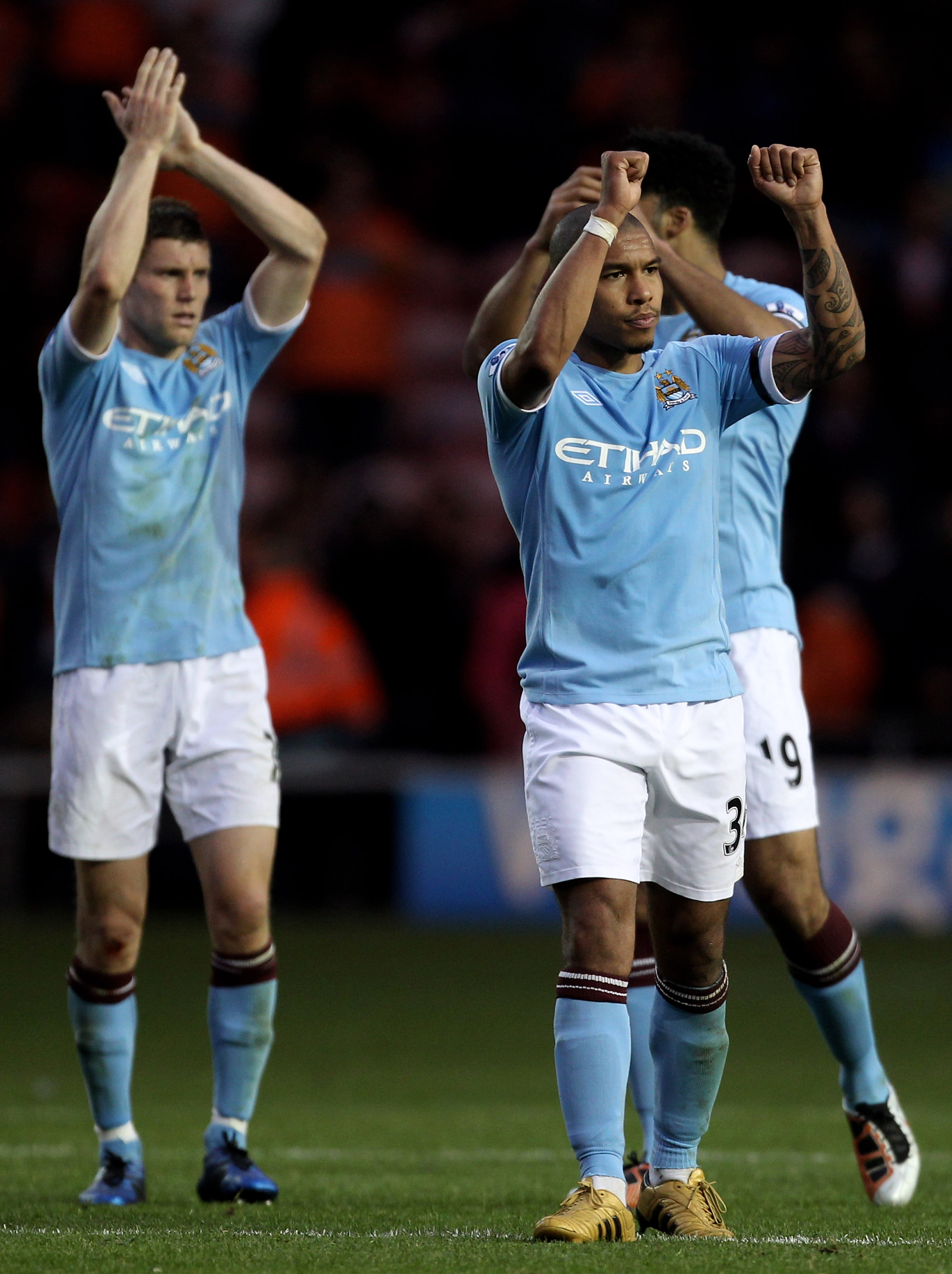 BLACKPOOL, ENGLAND - OCTOBER 17:   Nigel de Jong of Manchester City acknowledges the fans at the end of the Barclays Premiership match between Blackpool and Manchester City at Bloomfield Road on October 17, 2010 in Blackpool, England. (Photo by Alex Lives