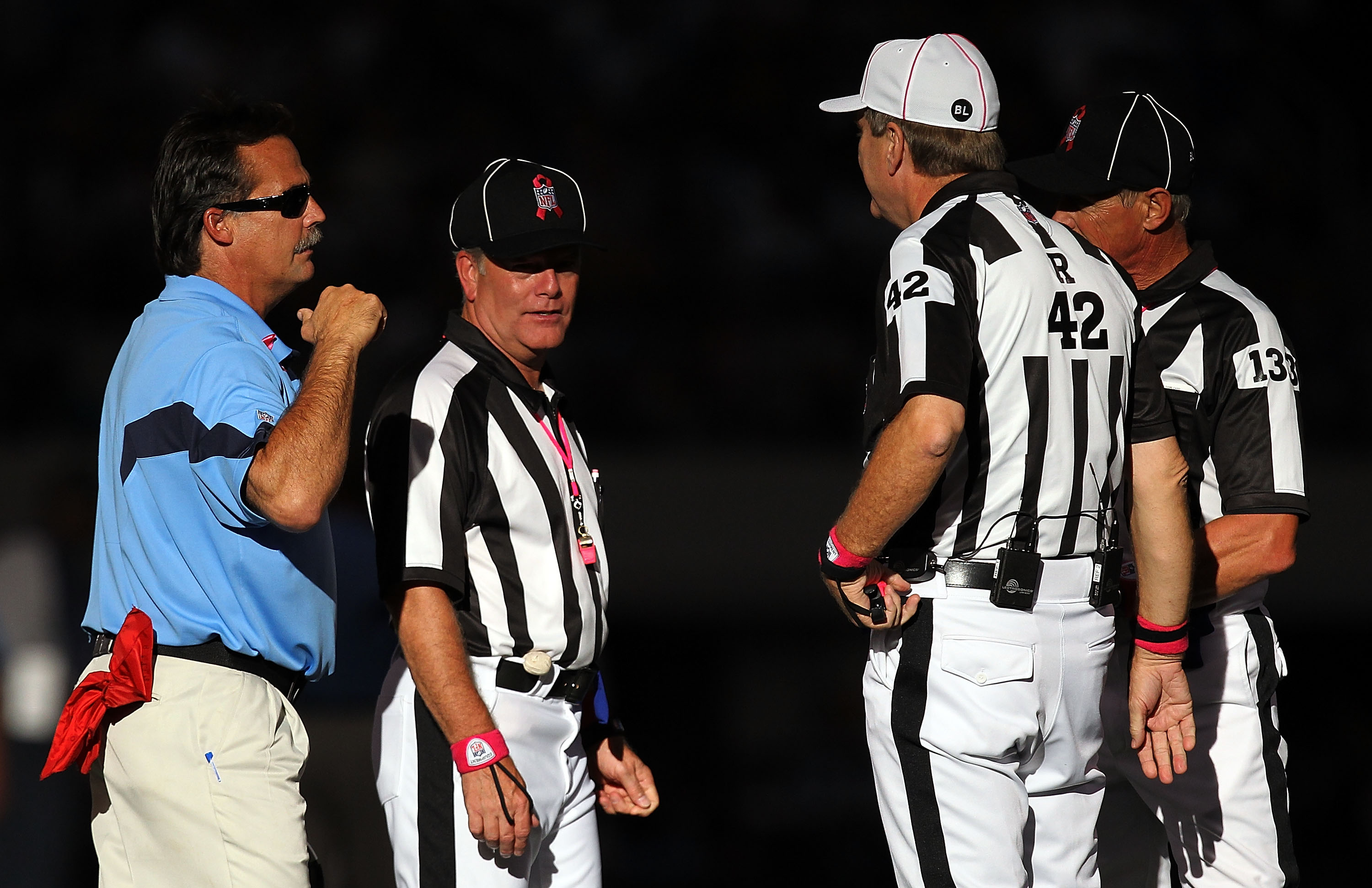 ARLINGTON, TX - OCTOBER 10:  Head coach Jeff Fisher of the Tennessee Titans talks with officials at Cowboys Stadium on October 10, 2010 in Arlington, Texas.  (Photo by Ronald Martinez/Getty Images)