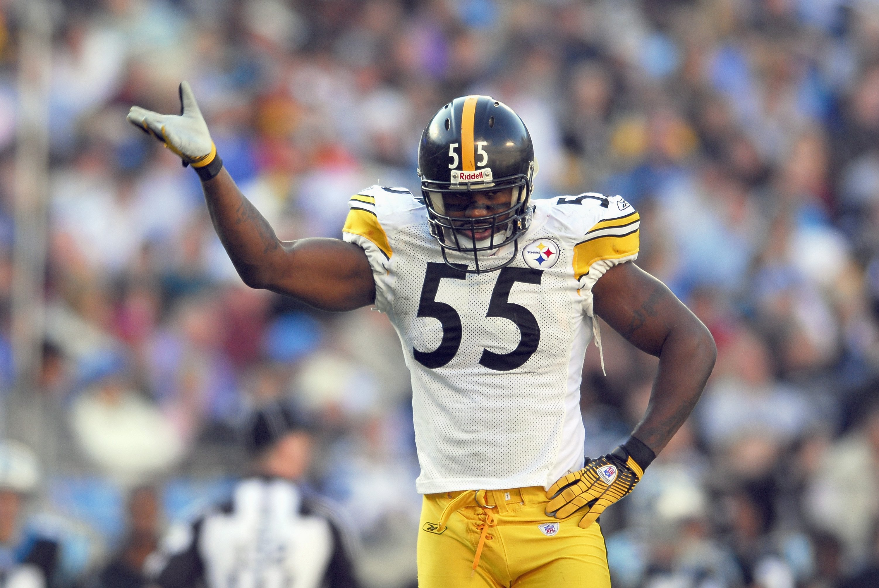 CHARLOTTE, NC - DECEMBER 17:  Joey Porter #55 of the Pittsburgh Steelers reacts during the game against the Carolina Panthers December 17, 2006 at Bank of America Stadium in Charlotte, North Carolina. Pittsburgh defeated Carolina 37-3. (Photo By Grant Hal