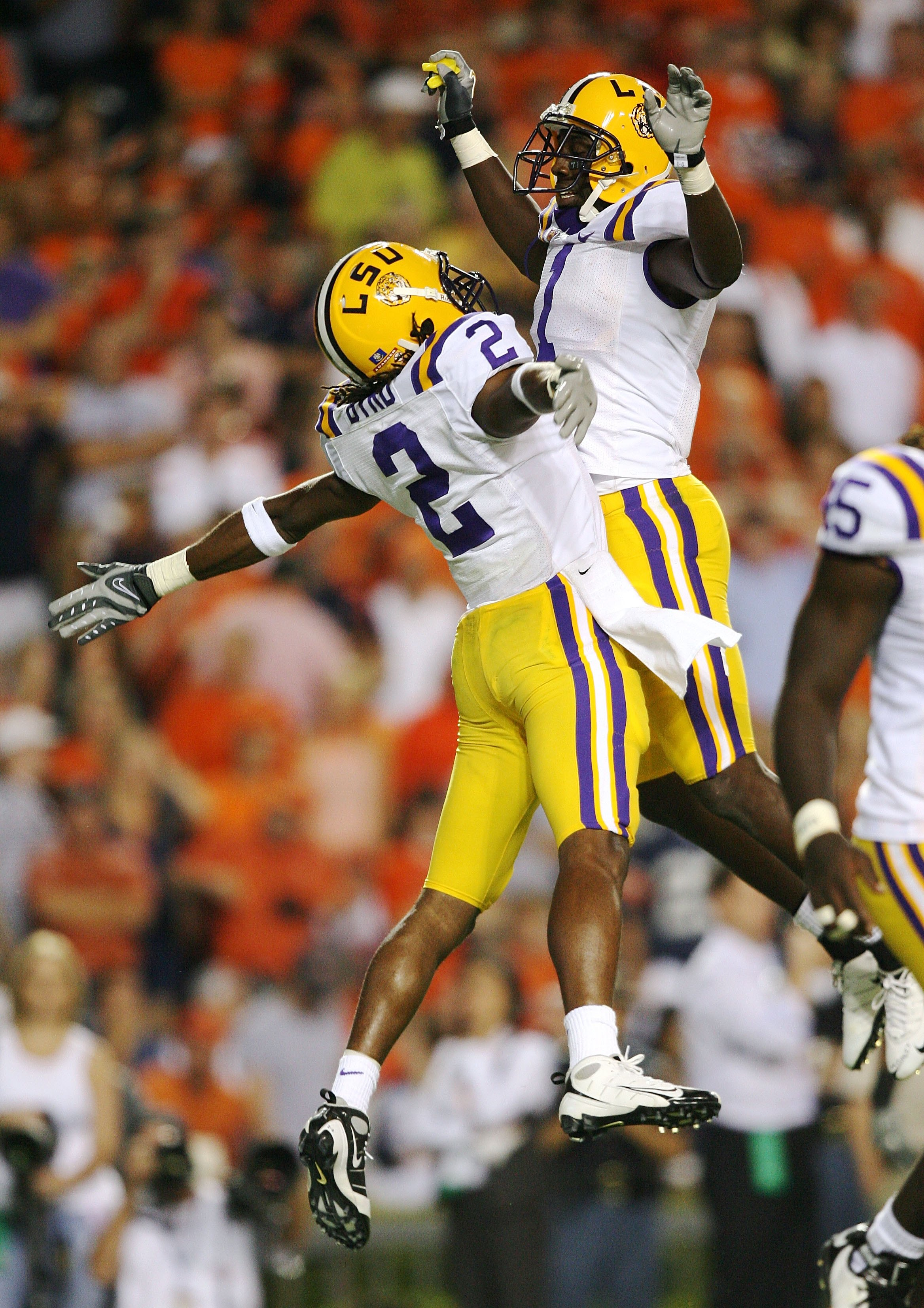AUBURN, AL - SEPTEMBER 20:  Brandon LaFell #1 and Demetrius Byrd #2 of the LSU Tigers celebrate a touchdown catch by Byrd against the Auburn Tigers at Jordan-Hare Stadium on September 20, 2008 in Auburn, Alabama. LSU defeated Auburn 26-21.  (Photo by Doug