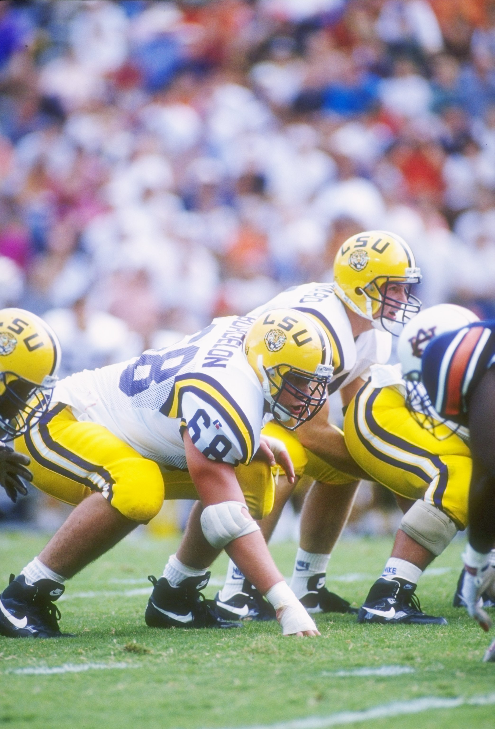 17 Sep 1994: Offensive tackle Ben Bordelon of the Louisiana State Tigers stands in his stance during a game against the Auburn Tigers at Jordan-Hare Stadium in Auburn, Alabama. Auburn won the game, 30-26.
