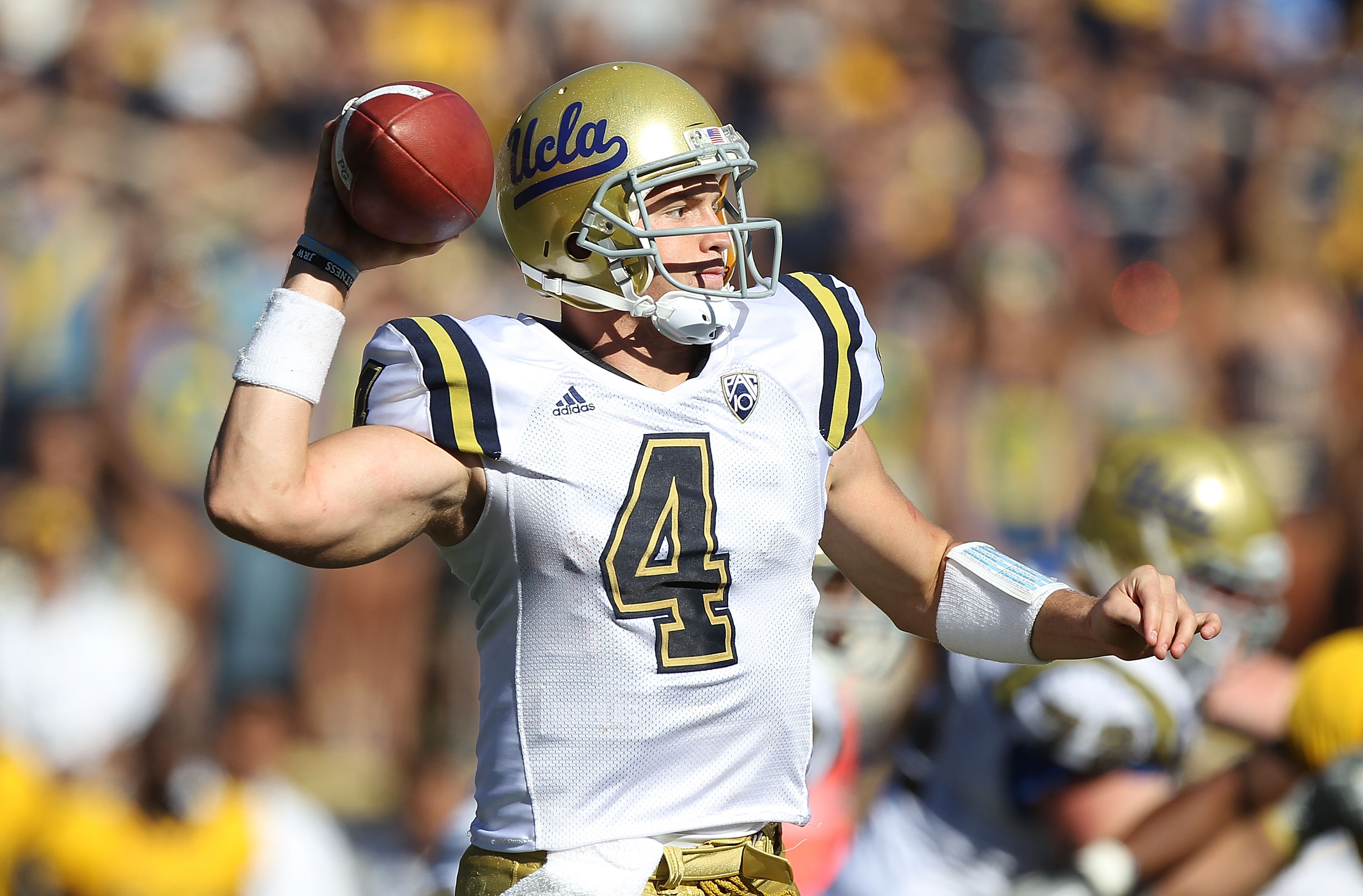 BERKELEY, CA - OCTOBER 09:  Kevin Price #4 of the UCLA Bruins passes against the California Golden Bears at California Memorial Stadium on October 9, 2010 in Berkeley, California.  (Photo by Jed Jacobsohn/Getty Images)
