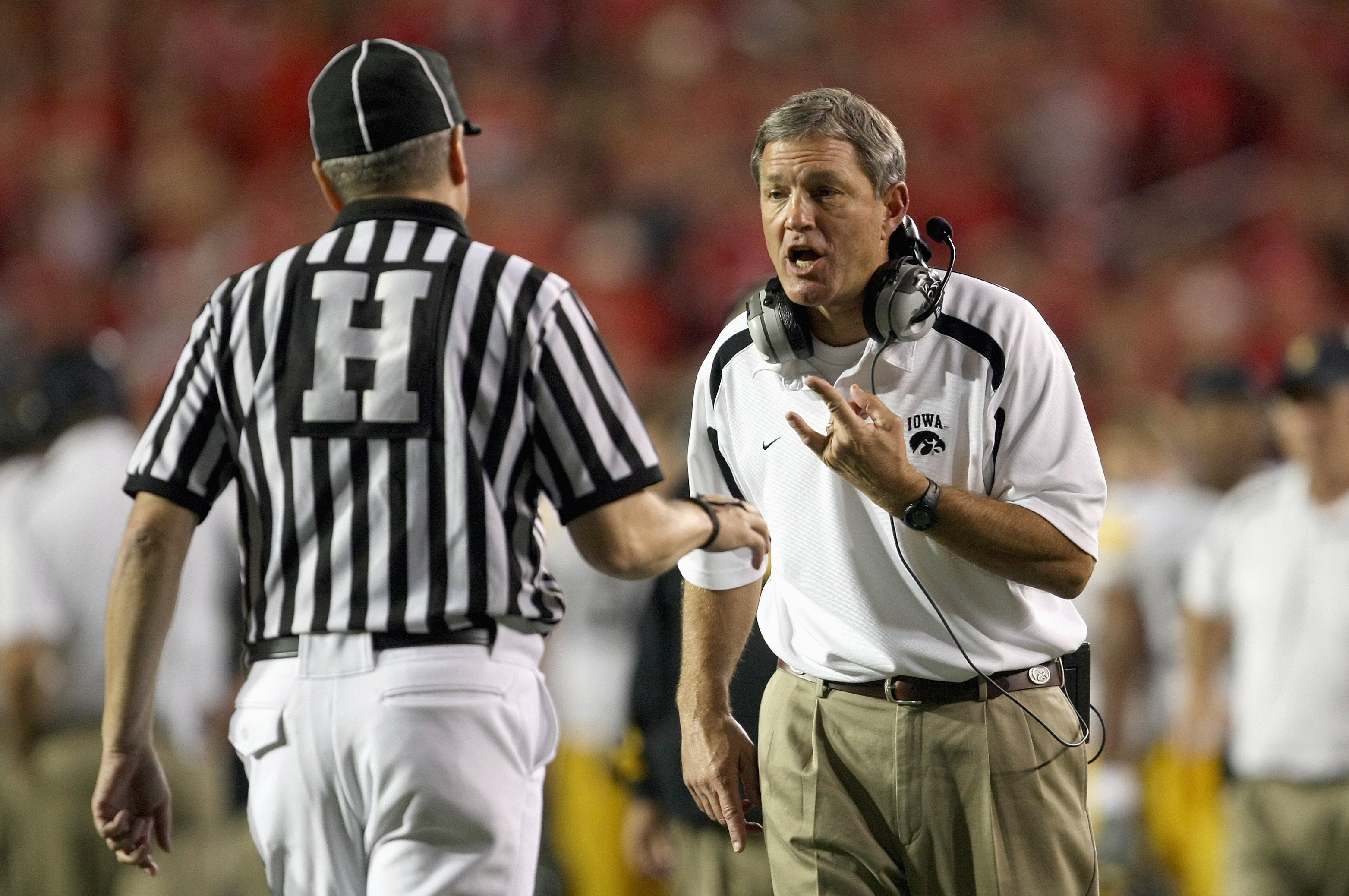 MADISON, WI - SEPTEMBER 22: Head coach Kirk Ferentz of the Iowa Hawkeyes questions the referee during a game against the Wisconsin Badgers at Camp Randall Stadium September 22, 2007 in Madison, Wisconsin. (Photo by Jonathan Daniel/Getty Images)