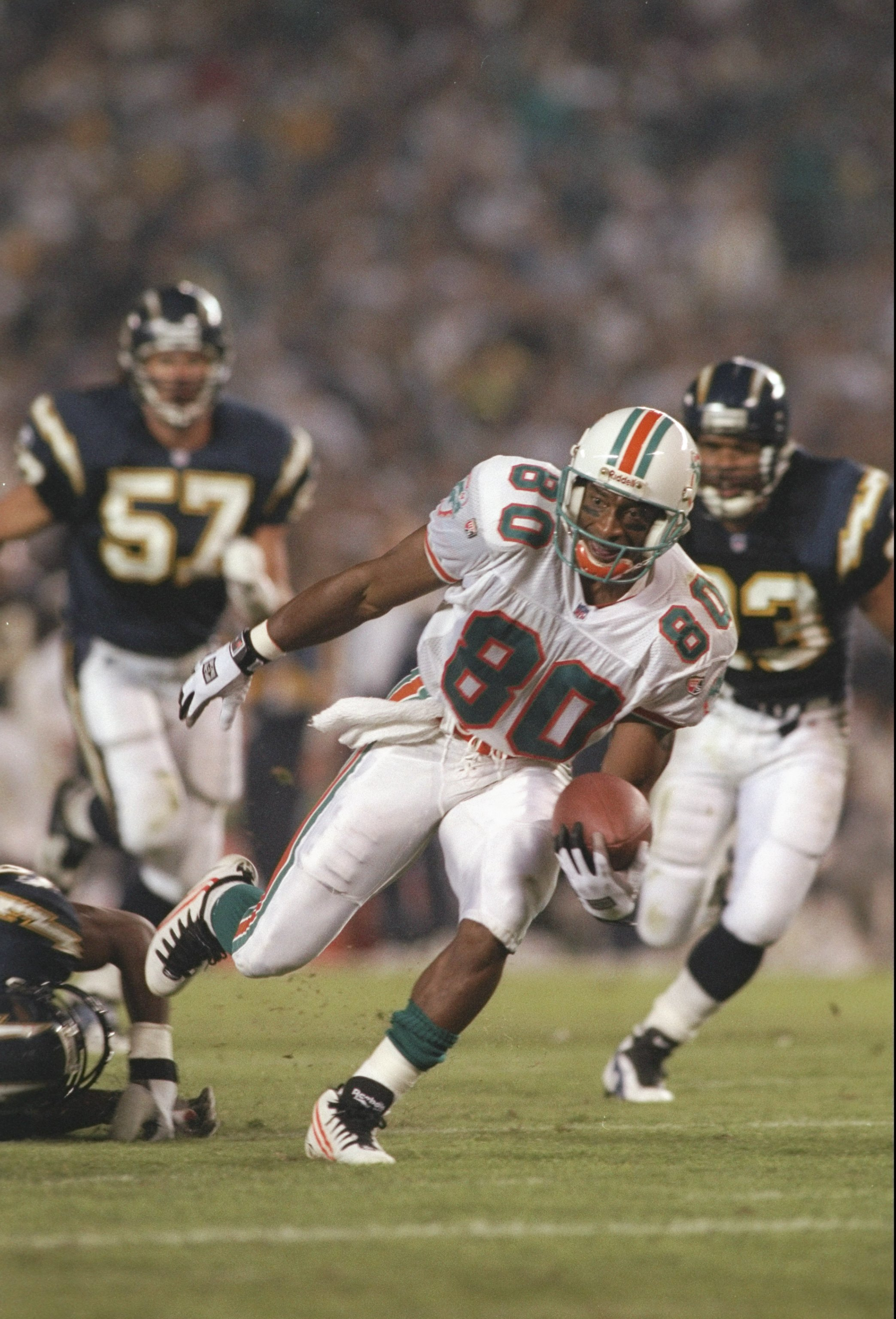 5 Nov 1995:  Wide receiver Irving Fryar of the Miami Dolphins moves the ball during a game against the San Diego Chargers at Jack Murphy Stadium in San Diego, California.  The Dolphins won the game, 24-14. Mandatory Credit: Jed Jacobsohn  /Allsport