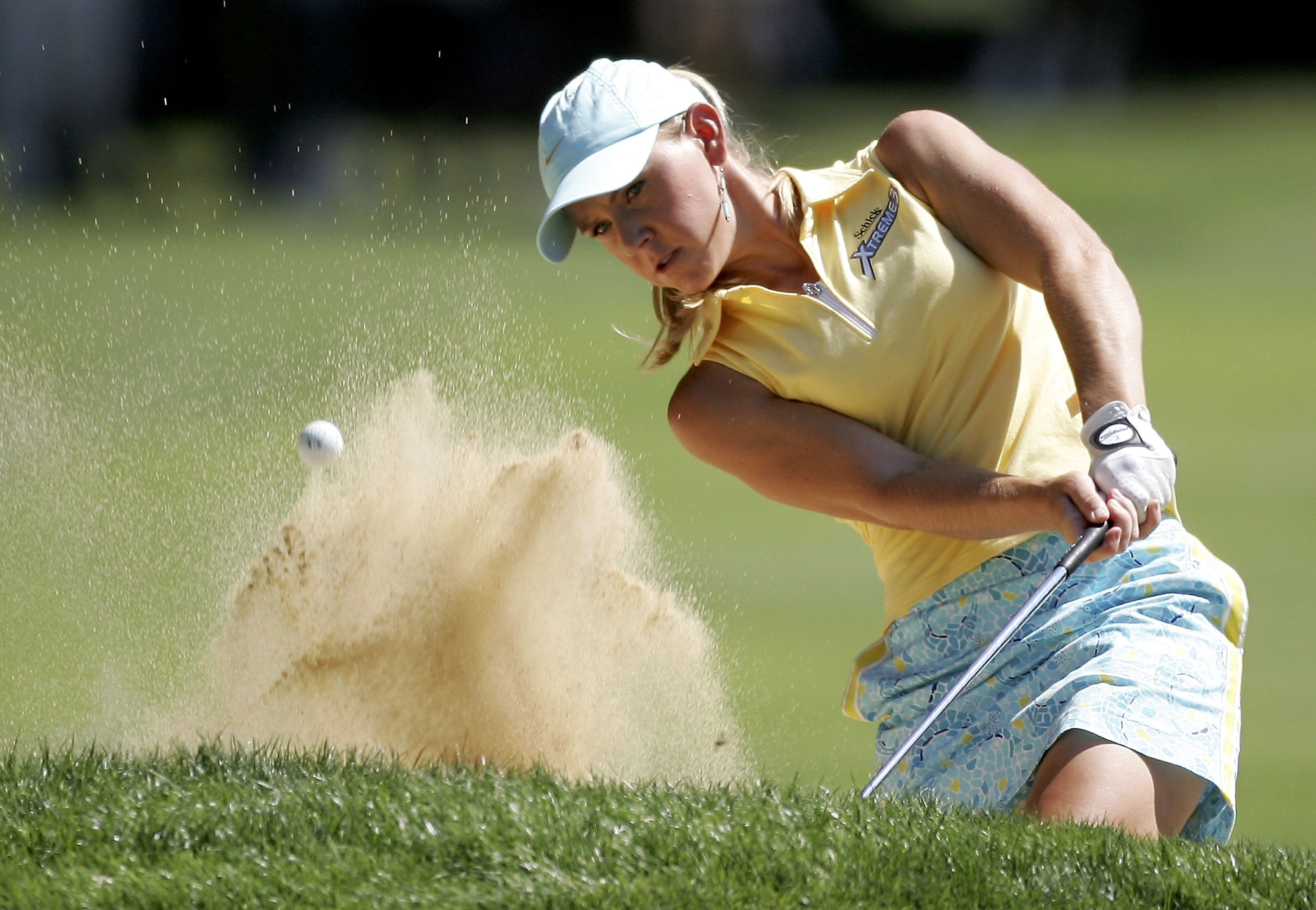 PORTLAND, OR - AUGUST 20:  Jenna Daniels hits out of the bunker on the 5th hole during the final round of the LPGA Safeway Classic August 20, 2006 at Columbia Edgewater Country Club in Portland, Oregon.  (Photo by Jonathan Ferrey/Getty Images)