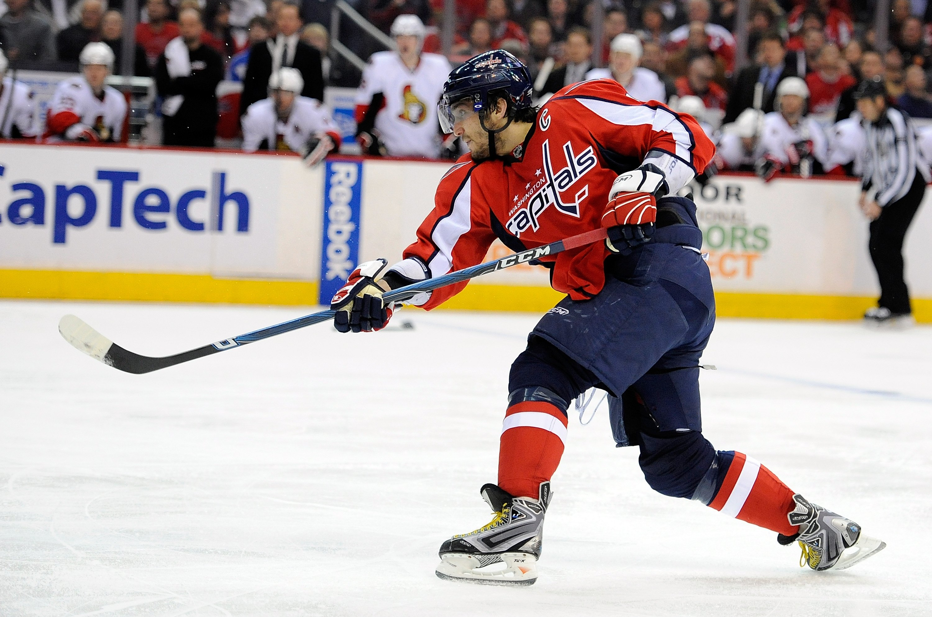 WASHINGTON - MARCH 30:  Alex Ovechkin #8 of the Washington Capitals shoots the puck against the Ottawa Senators at the Verizon Center on March 30, 2010 in Washington, DC.  (Photo by Greg Fiume/Getty Images)