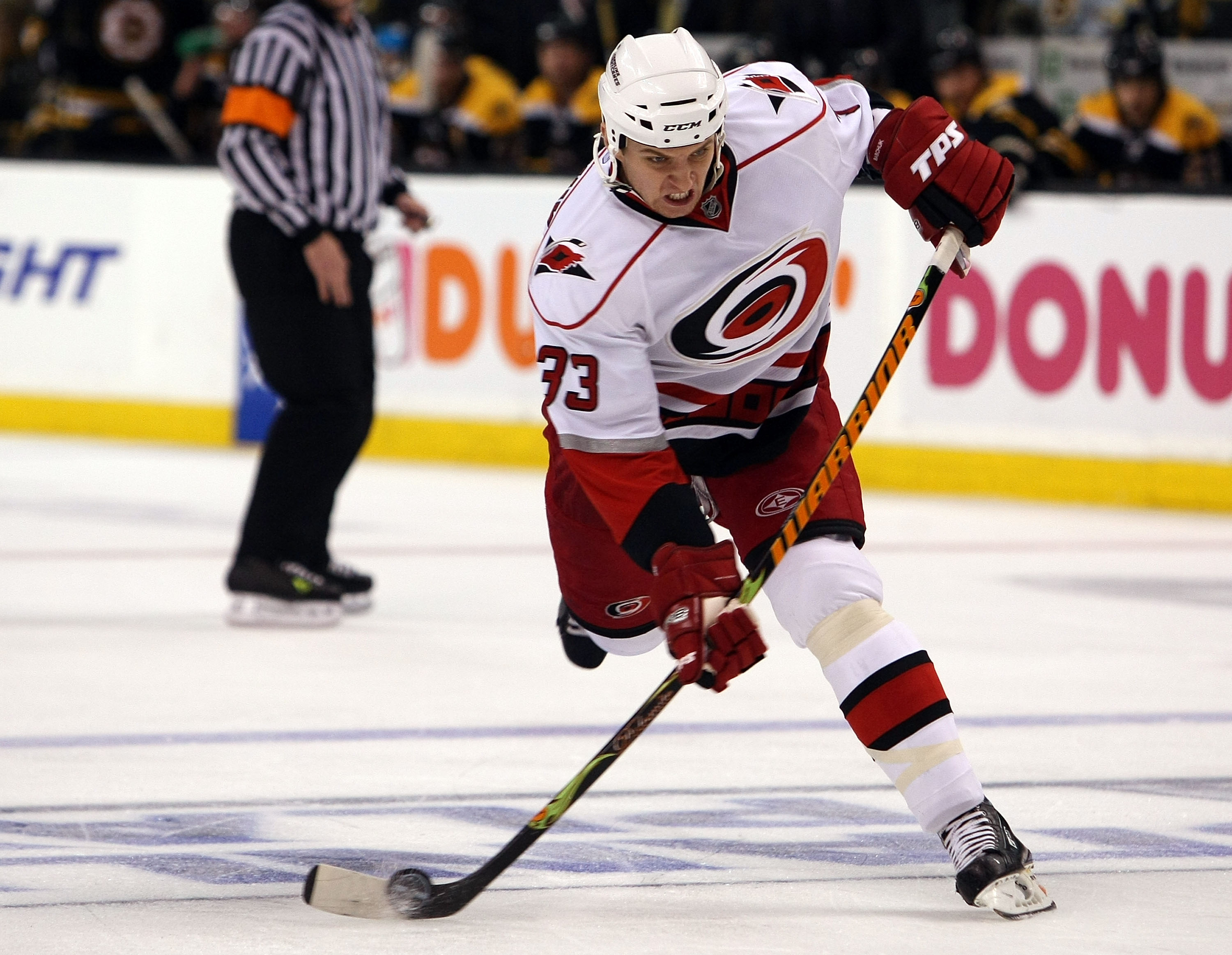 BOSTON - MAY 03:  Anton Babchuk #33 of the Carolina Hurricanes takes a shot in the second period against the Boston Bruins during Game Two of the Eastern Conference Semifinal Round of the 2009 Stanley Cup Playoffs on May 3, 2009 at the TD Banknorth Garden