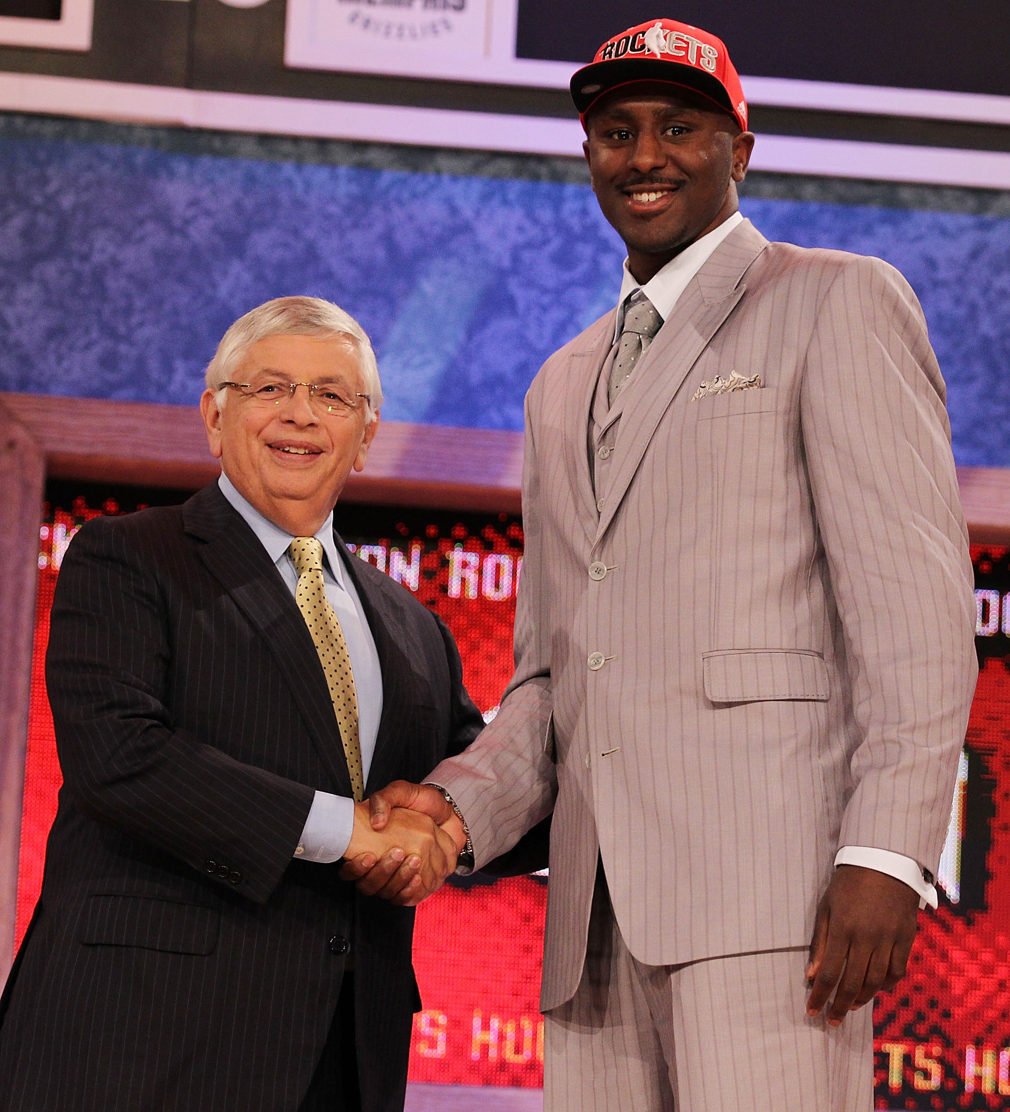 NEW YORK - JUNE 24:  Patrick Patterson stands with NBA Commisioner David Stern after being drafted fourteenth by The Houston Rockets  at Madison Square Garden on June 24, 2010 in New York City.  NOTE TO USER: User expressly acknowledges and agrees that, b