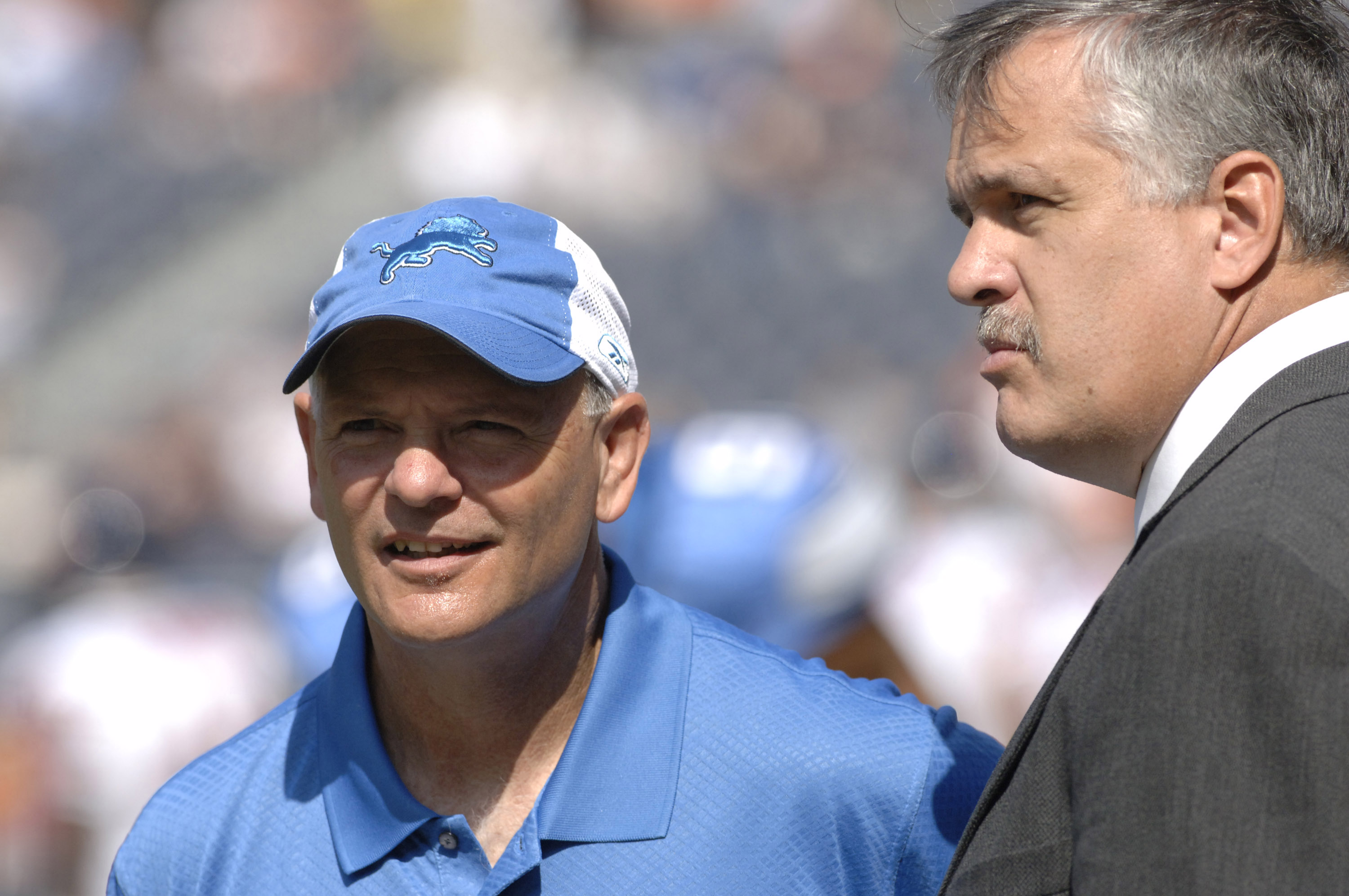Detroit Lions coach Ron Marinelli with president Matt Millen on the sidelines during a game between the Chicago Bears and Detroit Lions at Soldier Field in Chicago, Illinois on September 17, 2006.  The Bears won 34 - 7.  (Photo by Al Messerschmidt/Getty I