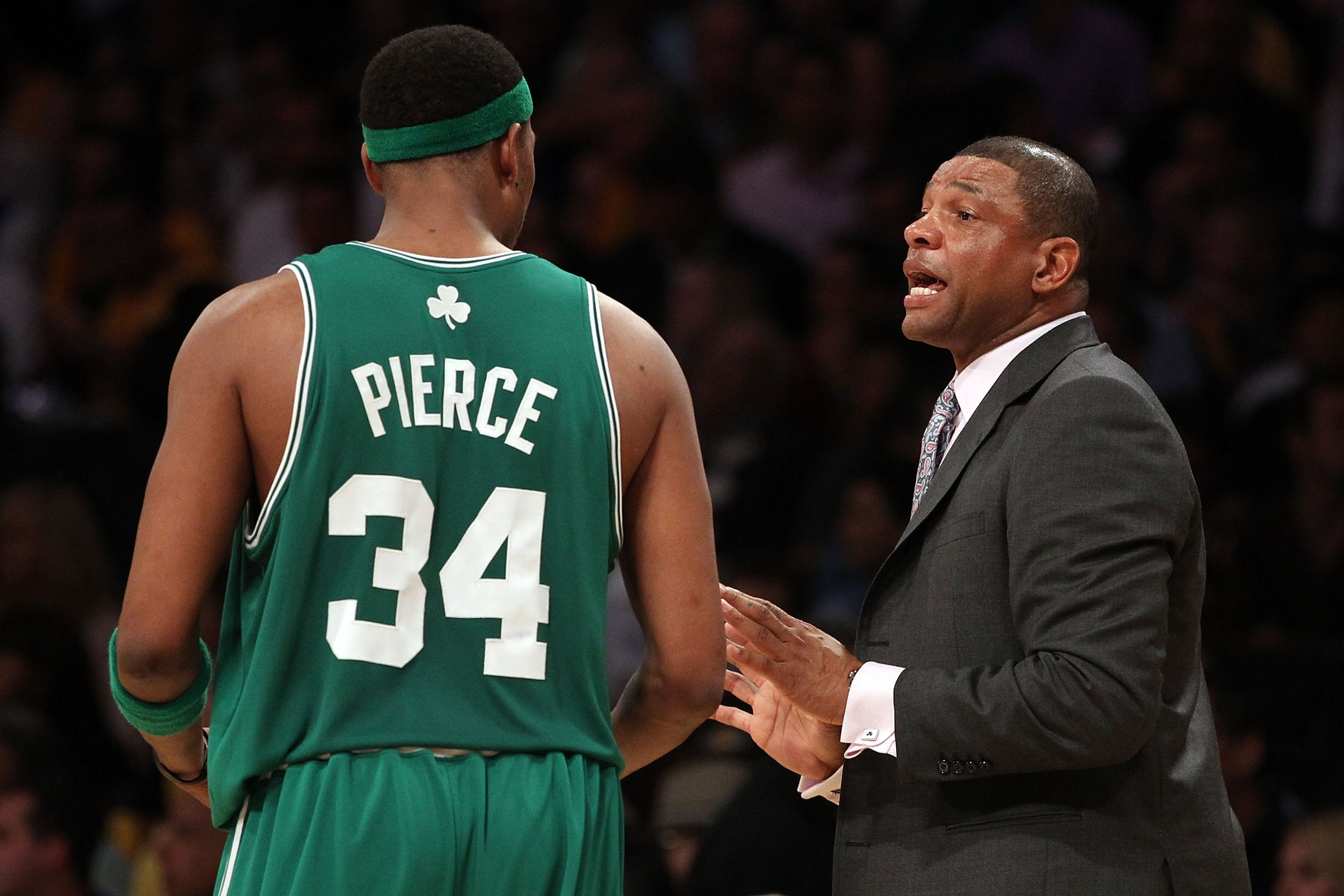 LOS ANGELES, CA - JUNE 17:  Head coach Doc Rivers of the Boston Celtics talks with Paul Pierce #34 while taking on the Los Angeles Lakers in Game Seven of the 2010 NBA Finals at Staples Center on June 17, 2010 in Los Angeles, California.  NOTE TO USER: Us