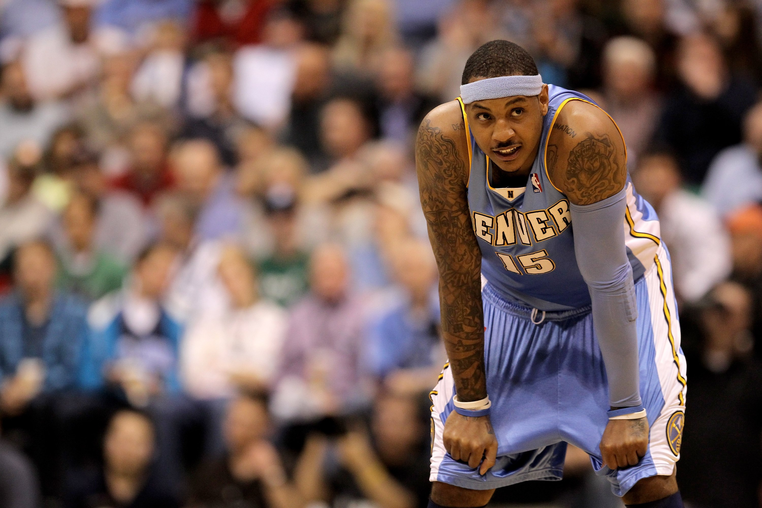 SALT LAKE CITY - APRIL 30:  Carmelo Anthony #15 of the Denver Nuggets stands on the court during their game against the Utah Jazz in Game Six of the Western Conference Quarterfinals of the 2010 NBA Playoffs at EnergySolutions Arena on April 30, 2010 in Sa